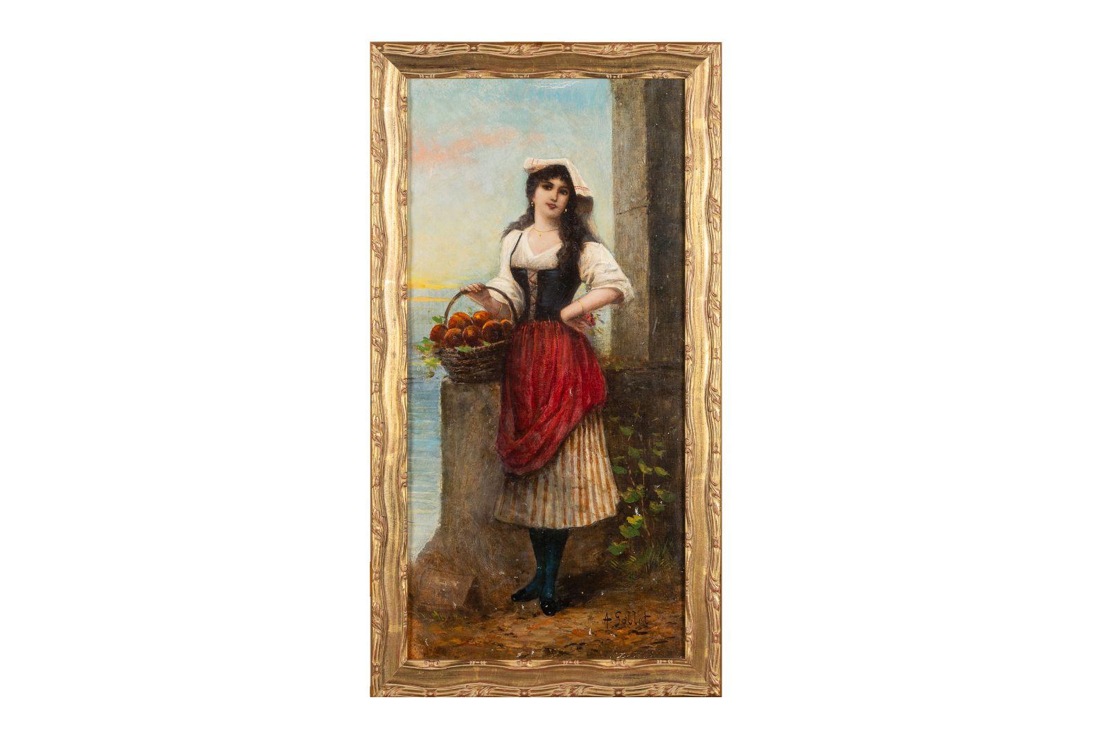 "#161 A. Goblet, ""Italian peach seller"" | A. Goblet, "" Italienische Pfirsichverkäuferin"" Image"