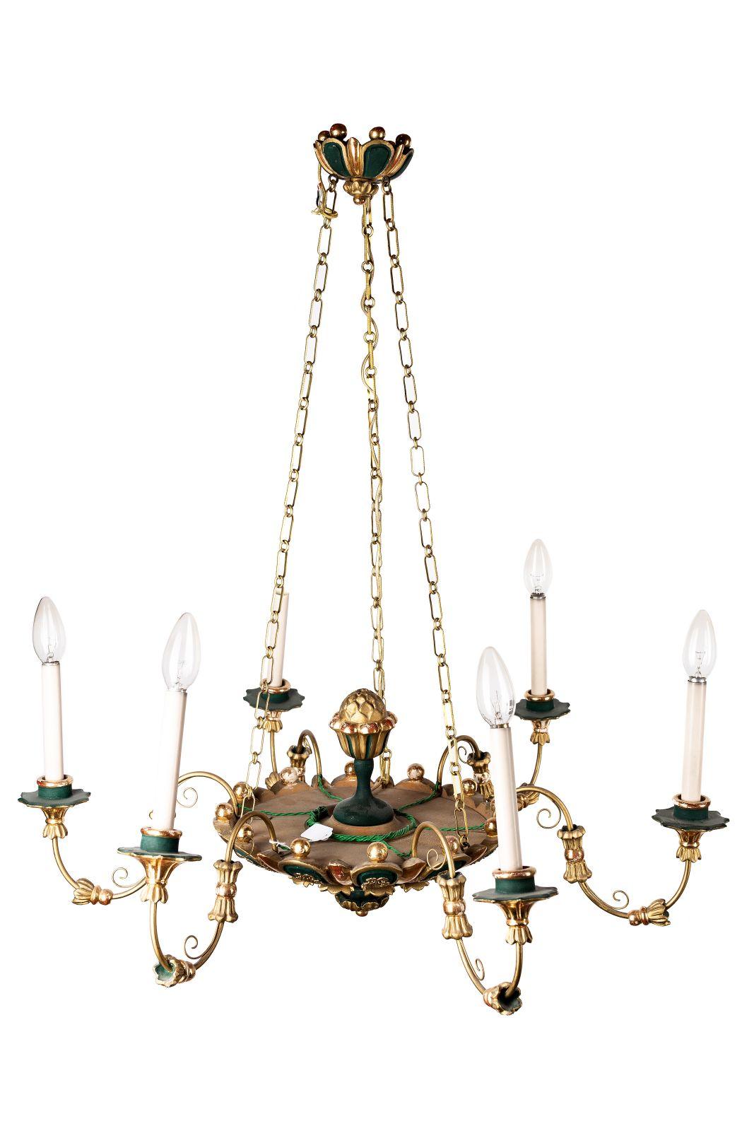 #169 6-armed Biedermeier chandelier | 6-armiger Biedermeier Luster Image