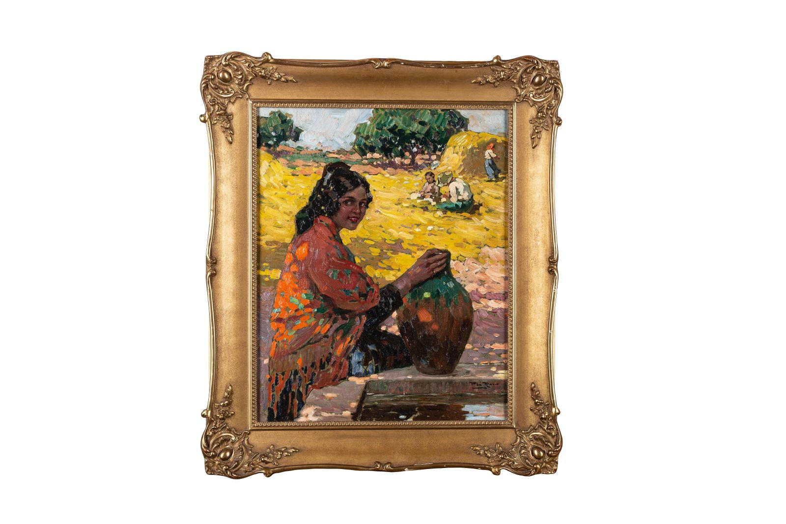 "#60 Alberto Plá y Rubio, ""Girl at the Fountain"", c. 1910   Alberto Plá y Rubio, ""Mädchen beim Brunnen"", um 1910  Image"