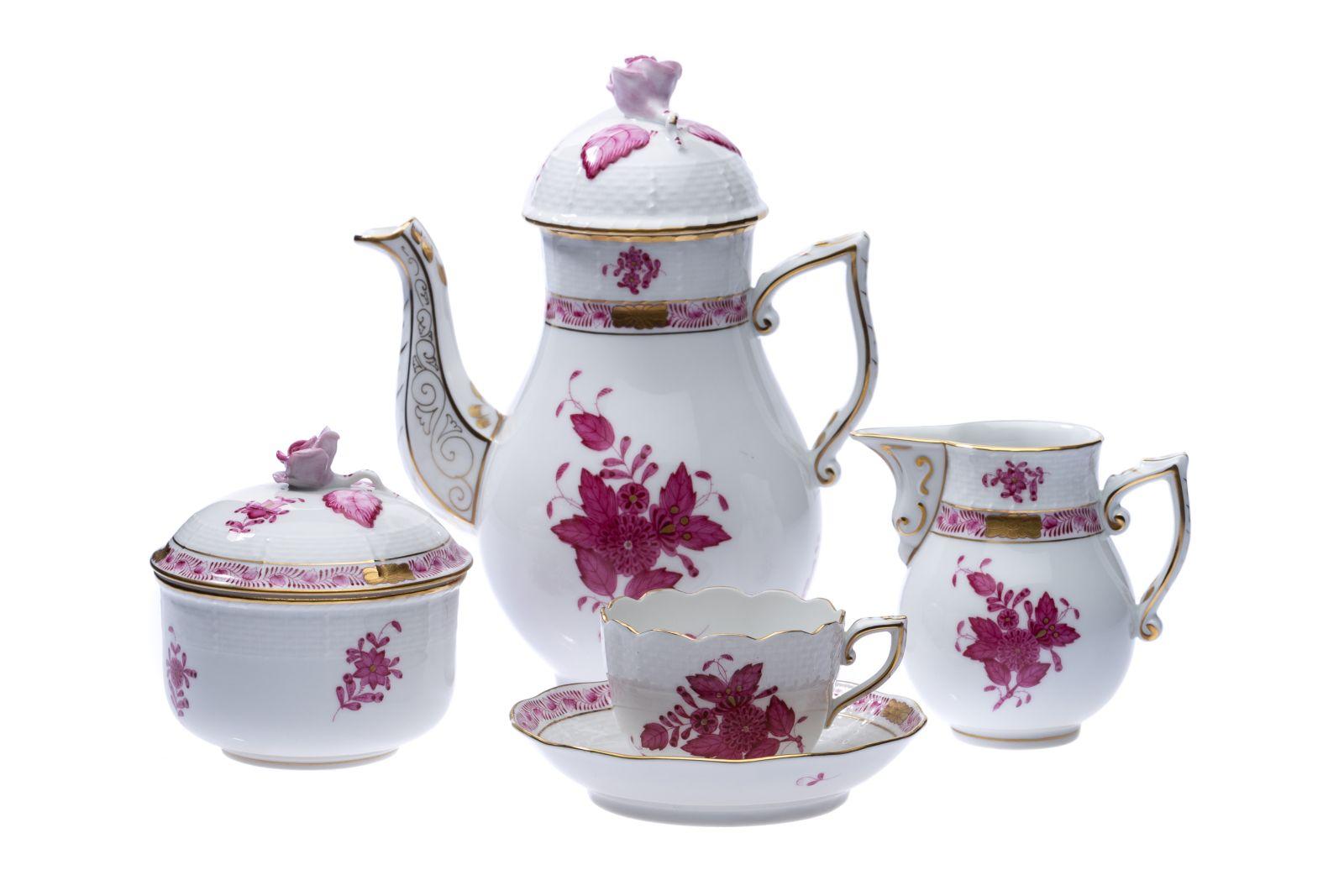 "#10 Herend Moccaservice 15 pieces form Osier decor ""Apponyi purpur"" | Herend Moccaservice 15 teilig  Form Osier Dekor ""Apponyi purpur"" Image"