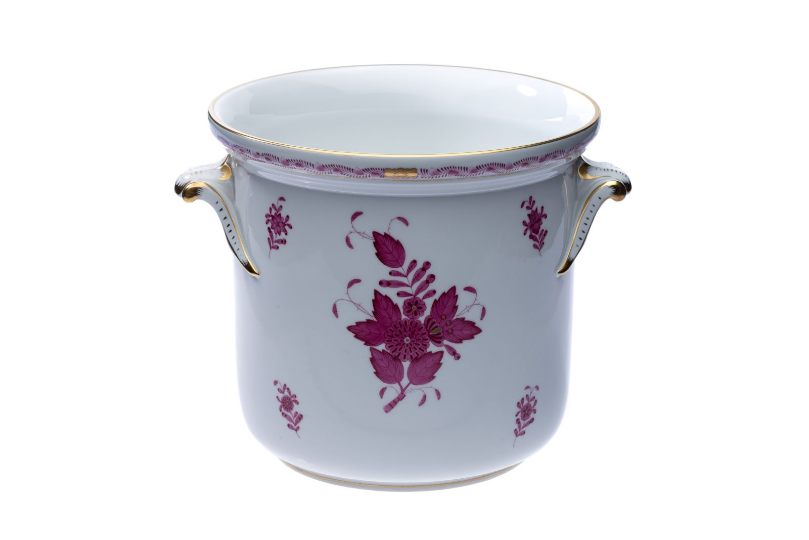 "#12 Herend flowerpot shape Osier decor ""Apponyi purpur"" | Herend Blumentopf Form Osier Dekor ""Apponyi purpur"" Image"