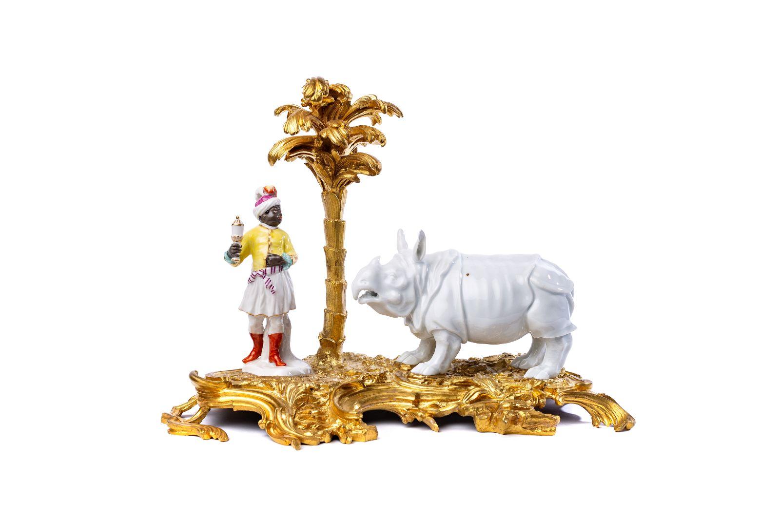 #140 Highly significant Rhinizeros group Meissen 1735-1740 | Hochbedeutende Rhinozeros Gruppe Meissen 1735-1740 Image