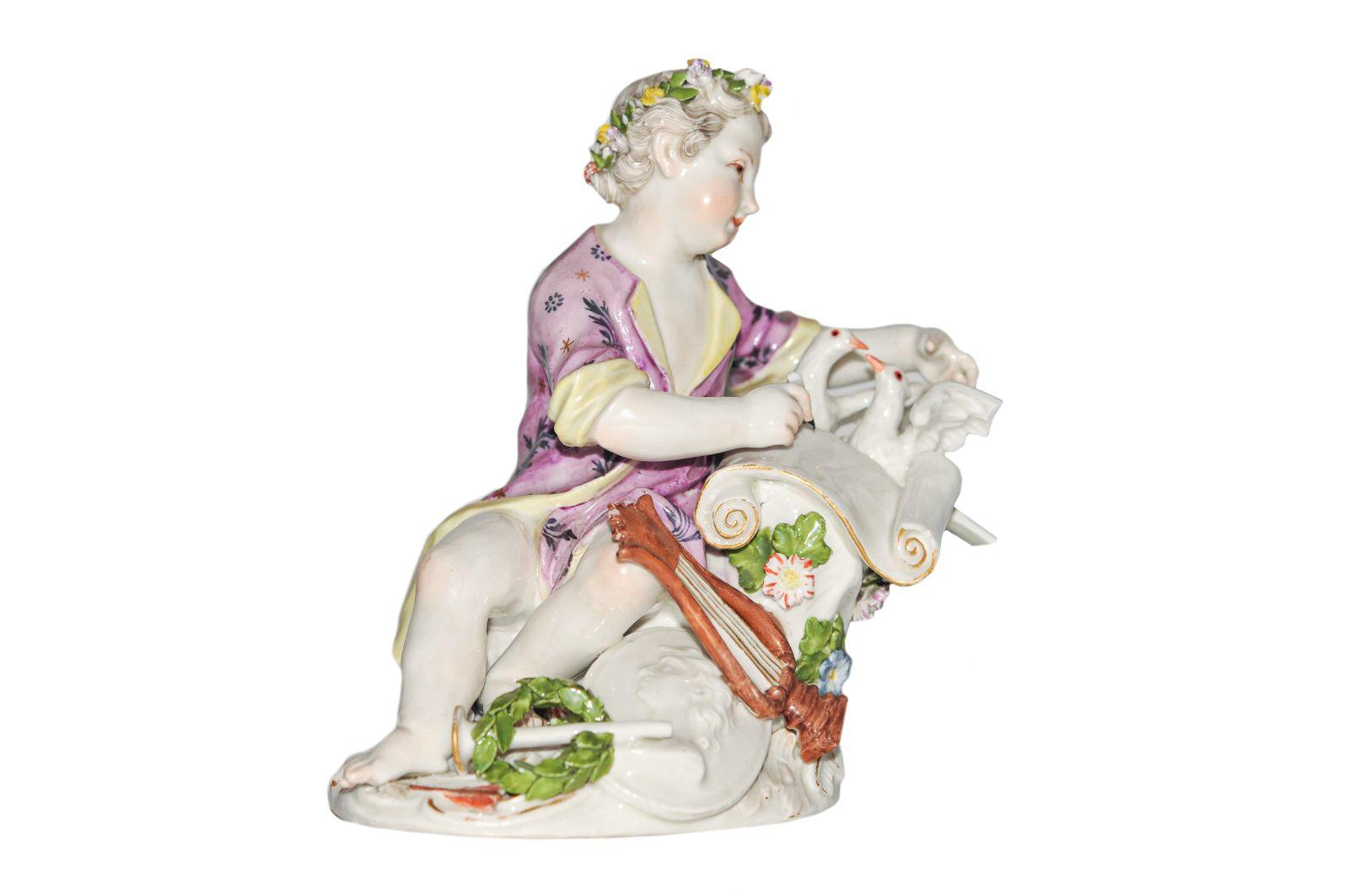 #178 Boy with pigeons Meissen 1750 | Knabe mit Tauben Meissen 1750 Image