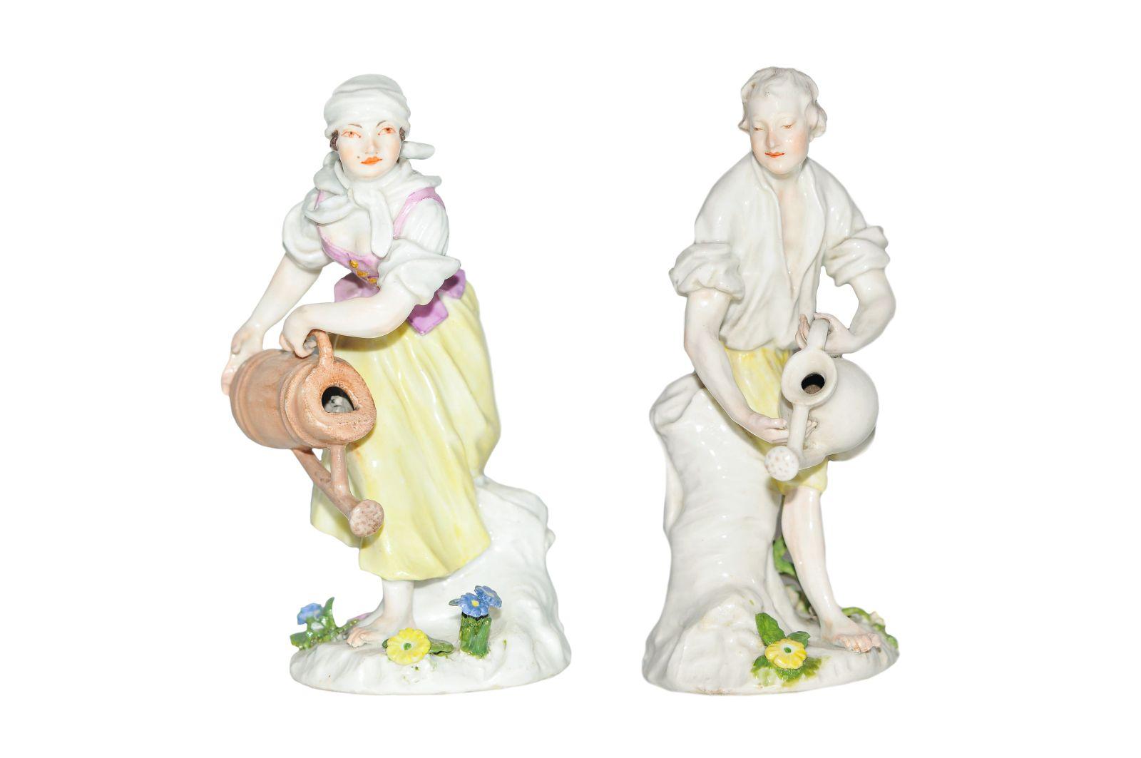 #197 2 figures gardener   with waterpots Meissen 1750 | 2 Figuren Gärtner und Gärtnerin mit Wasserkannen Meissen 1750 Image