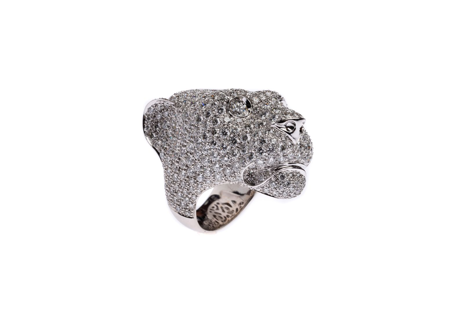 #100 White gold ladies ring panther head | Weißgold Ring Pantherkopf Image