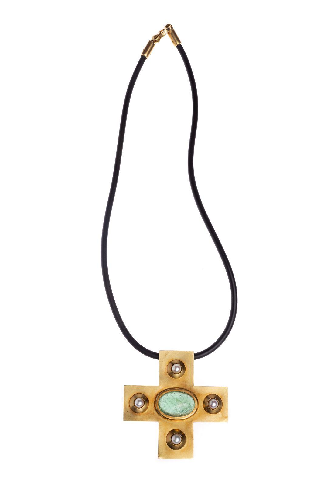 #129 Pendant in cross shape | Anhänger Kreuz Gelbgold Image