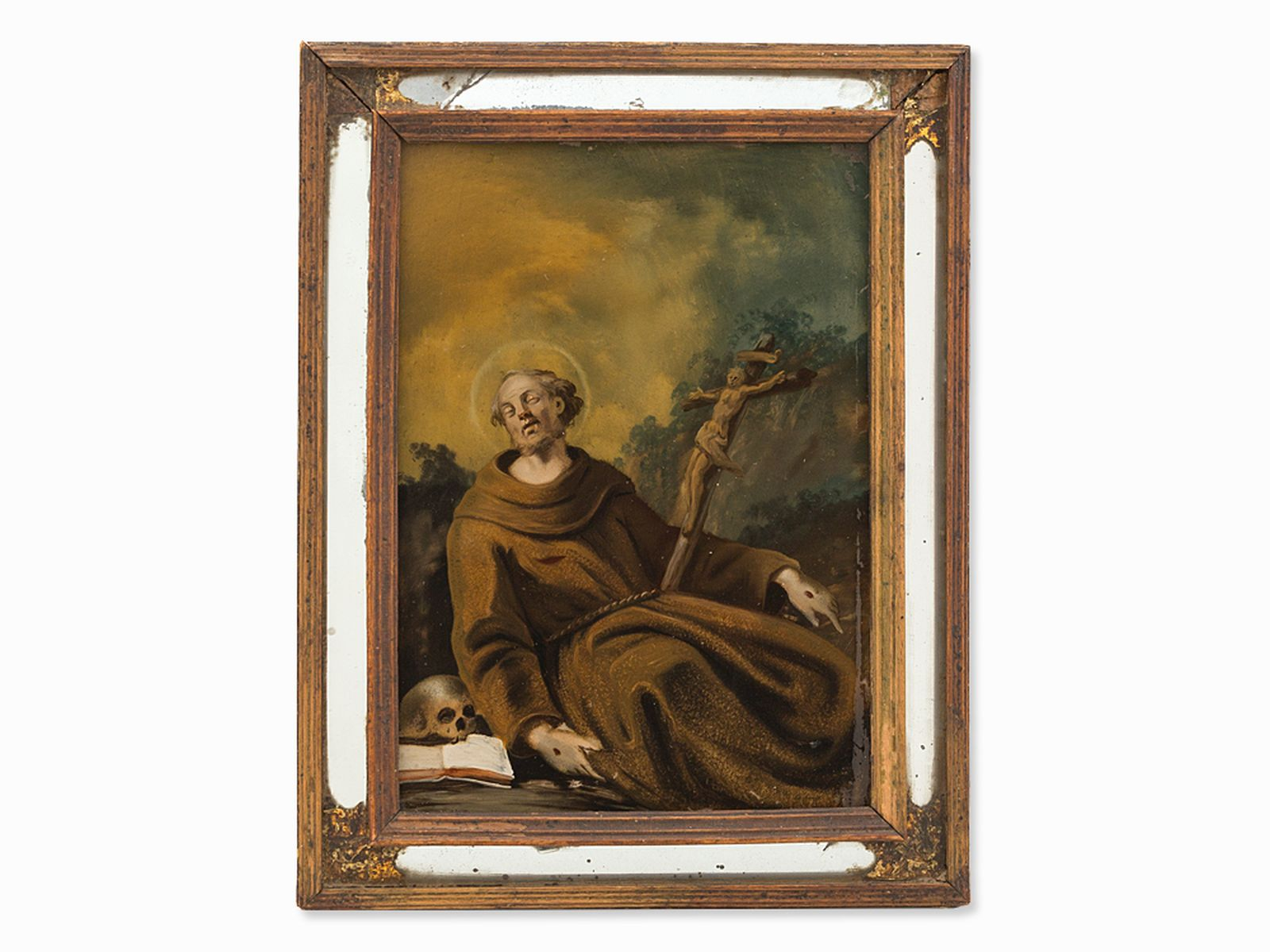 #11 St. Francis, Reverse Glass Painting, Spanish School, 18th C.  Spanische Schule, Hl. Franziskus, 18. Jahrhundert Image