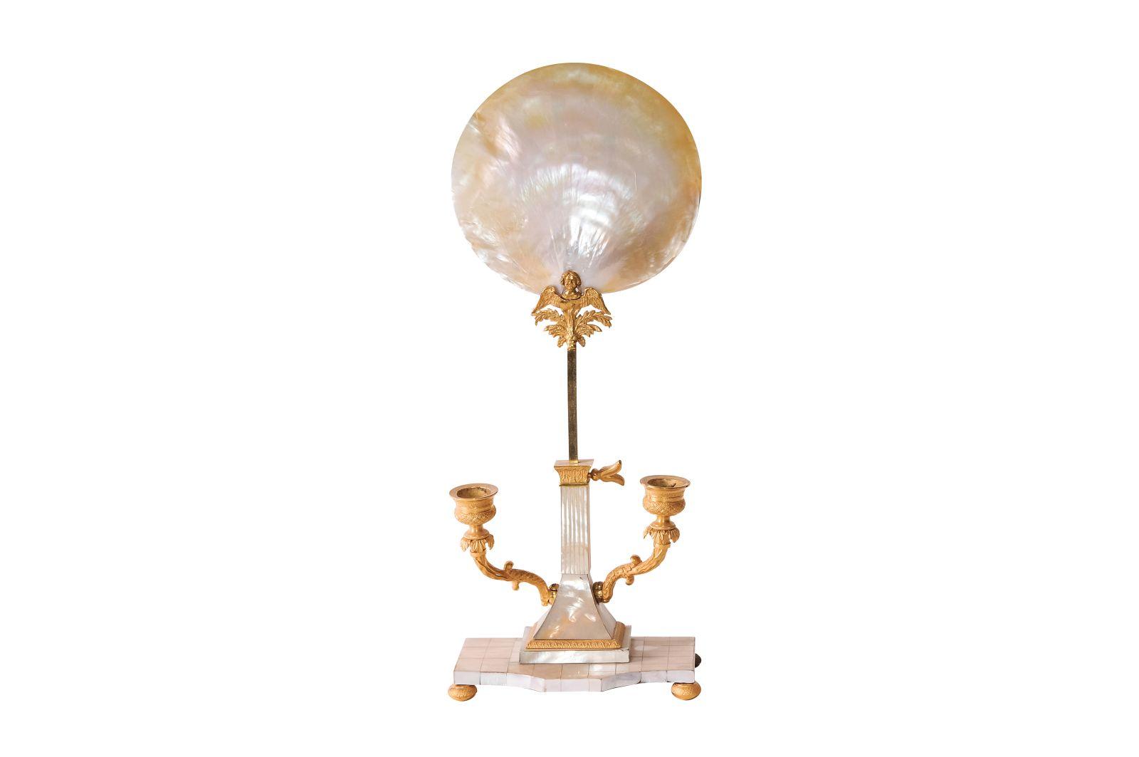 #132 Nacre candle chandelier 1820 | Perlmutt Kerzenleuchter 1820 Image