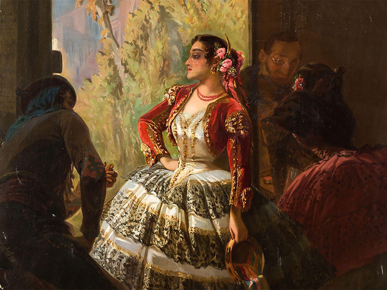 "#15 Eugène Giraud (1806-1881), Spanish Dancer, Oil, 1886 |Eugène Giraud (1806-1881), ""Spanische Tänzerin"" 1886 Image"