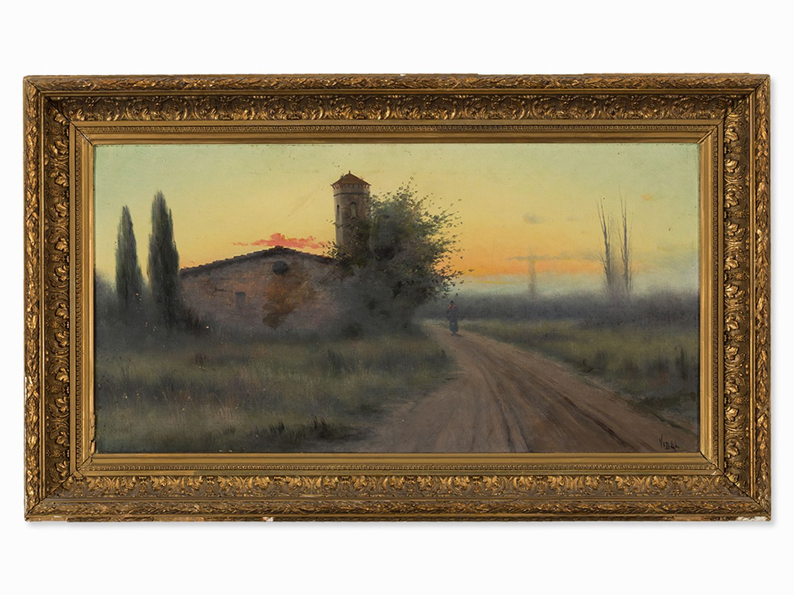 #16 Vidal, Oil Panting, Landscape with Sunset, Spain, 1st H 20th C.|Vidal, Landschaftsgemälde mit Sonnenuntergang, Spanien, 20. Jh. Image