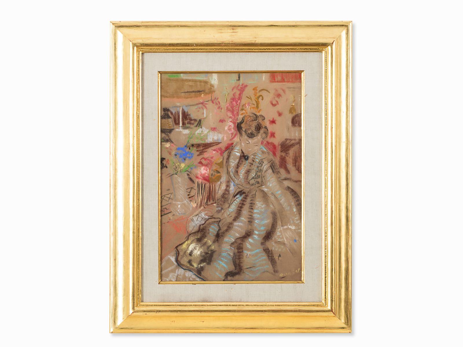 "#18  Emilio Grau Sala (1911-1975), Lady in a Salon, Pastel, 20th C. Emilio Grau Sala (1911-1975), ""Dame im Salon"" 20. Jh. Image"
