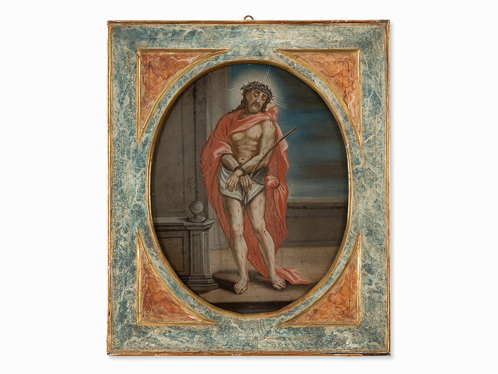 #20 Ecce Homo, Reverse Glass Painting, Spanish School, 18th C.| Image