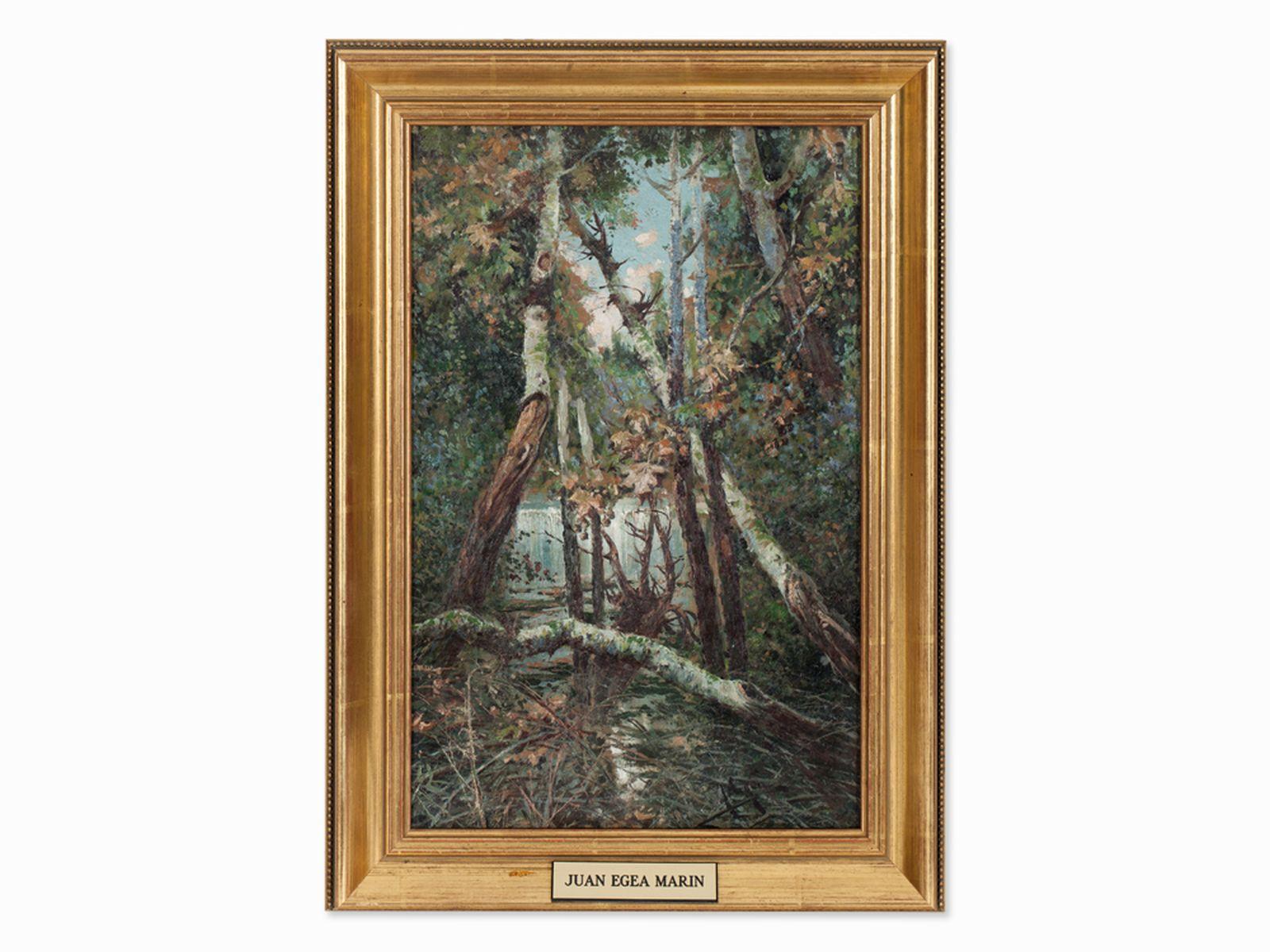 #23 Juan Egea Y Marin, Oil Painting, Waterfall with Birches, c.1890 |Juan Egea Y Marin, Ölgemälde, Wasserfall mit Birken, um 1890 Image