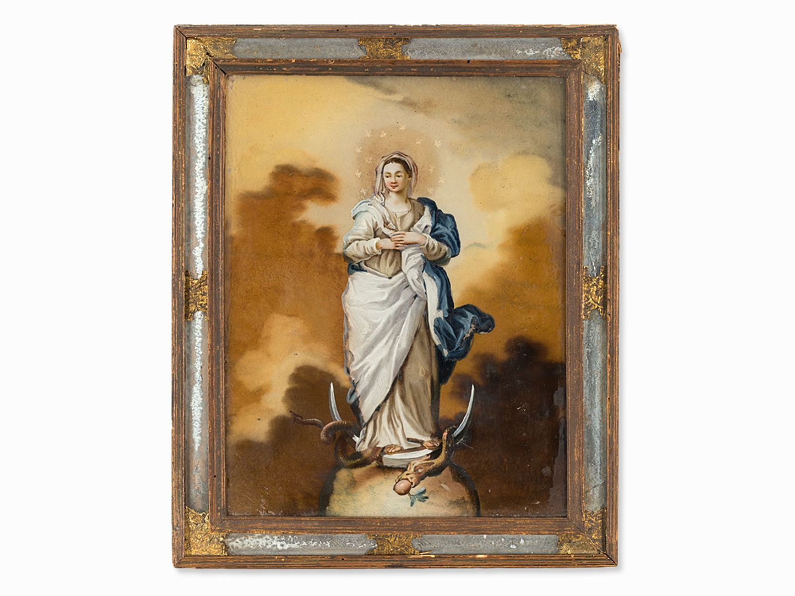 #29 Immaculate Conception, Reverse Glass Painting, Italy, 18th C. | Image