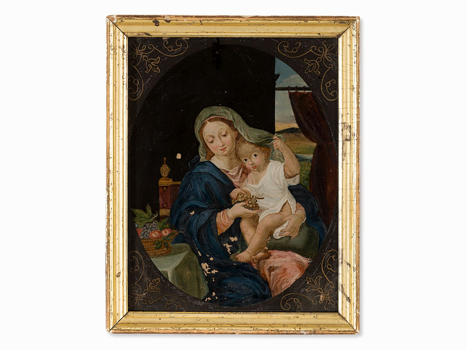 #36 After P. Mignard, Madonna with Grapes, Reverse Glass Painting | Nach Pierre Mignard, Image