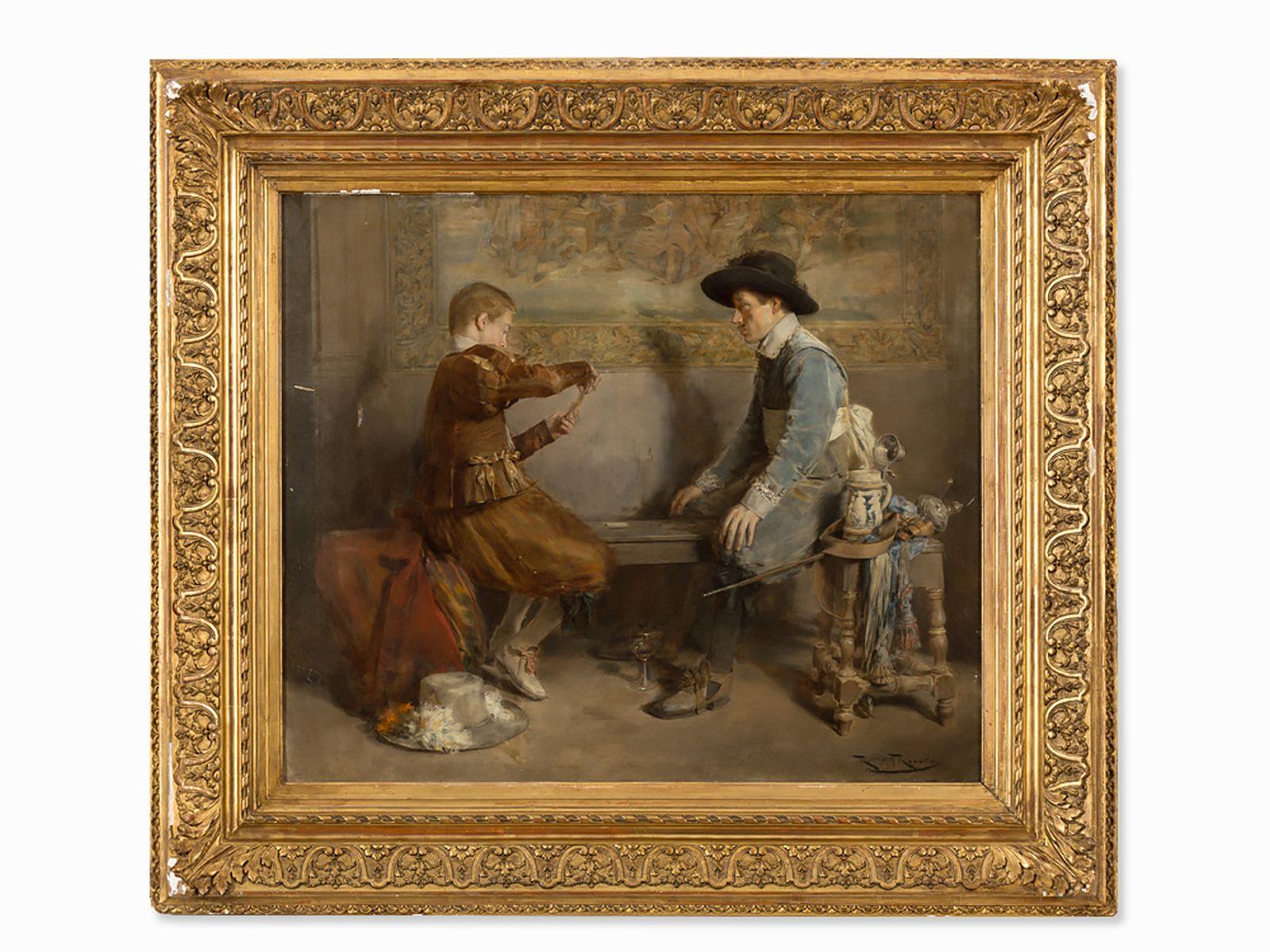 #37 Roman Ribera Cirera (1849-1935), Card Players, Oil, circa 1890 | Roman Ribera Cirera (1849-1935), Image