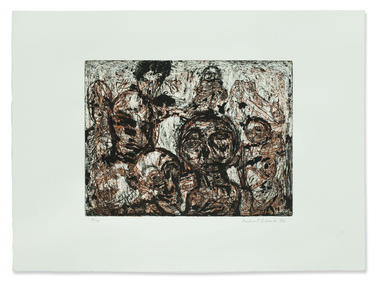 #129 Norbert Eberle, Color Etching of Heads, Germany, 1990 | Norbert Eberle (geb. 1954), Farbradierung, Köpfe, 1990 Image
