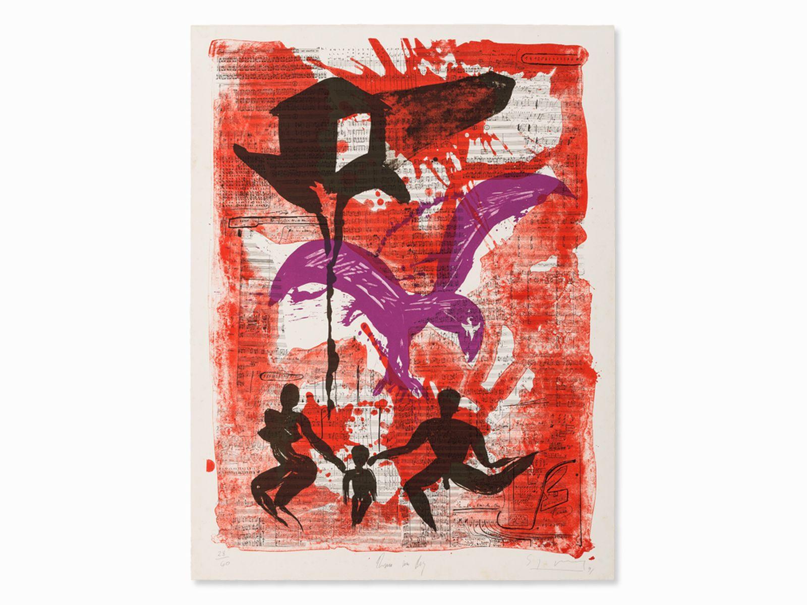 "#131 Stefan Szczesny, Lithograph, 'Dark House', Germany, 1991 | Stefan Szczesny (geb. 1951) , Lithografie, ""Dunkles Haus"", Deutschland, 1991 Image"