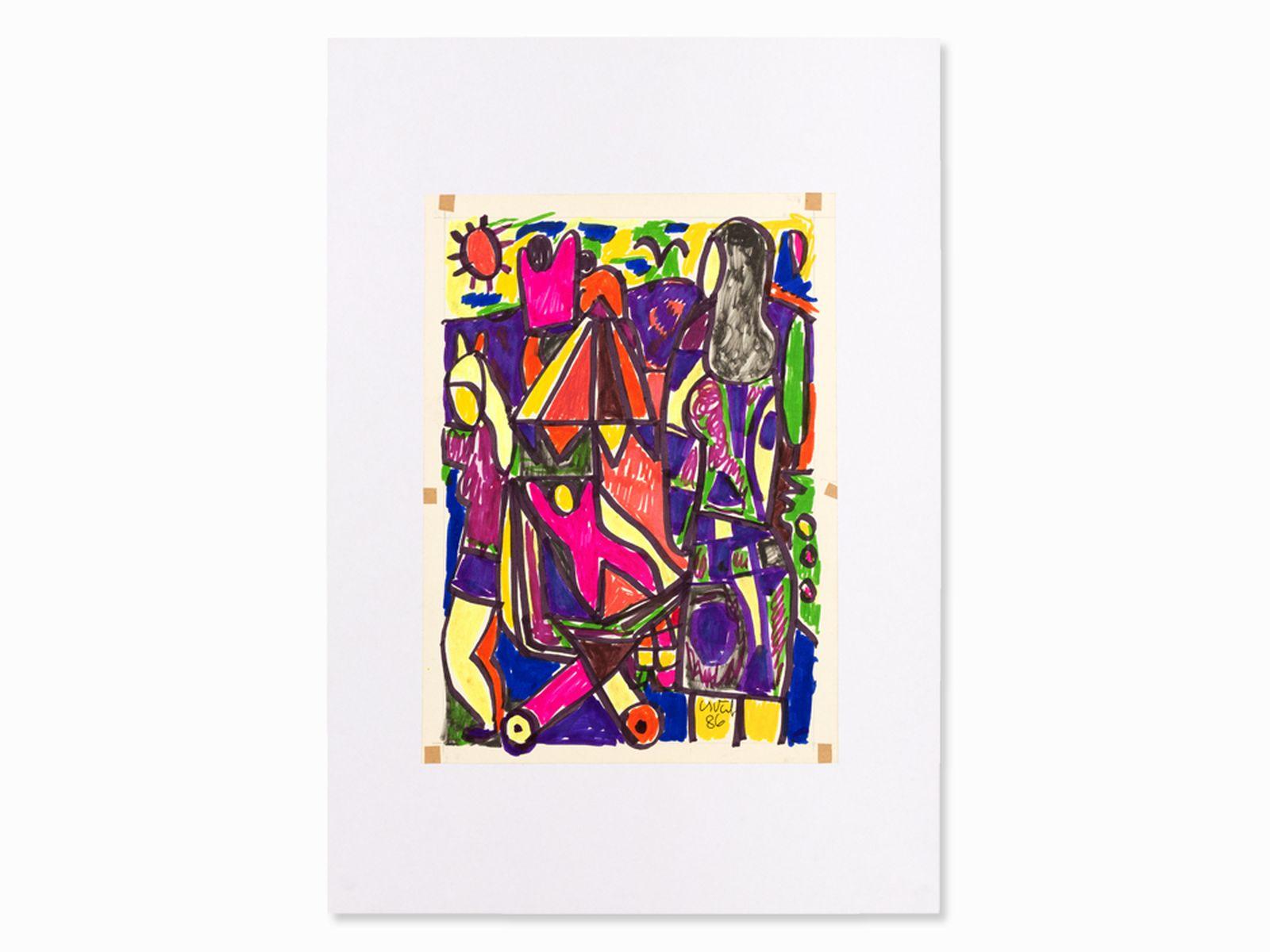 #20 Miklos Németh, Drawing, Powerful Composition, Hungary, 1986 | Miklos Németh, Zeichnung, Intensive Komposition, Ungarn,´86 Image