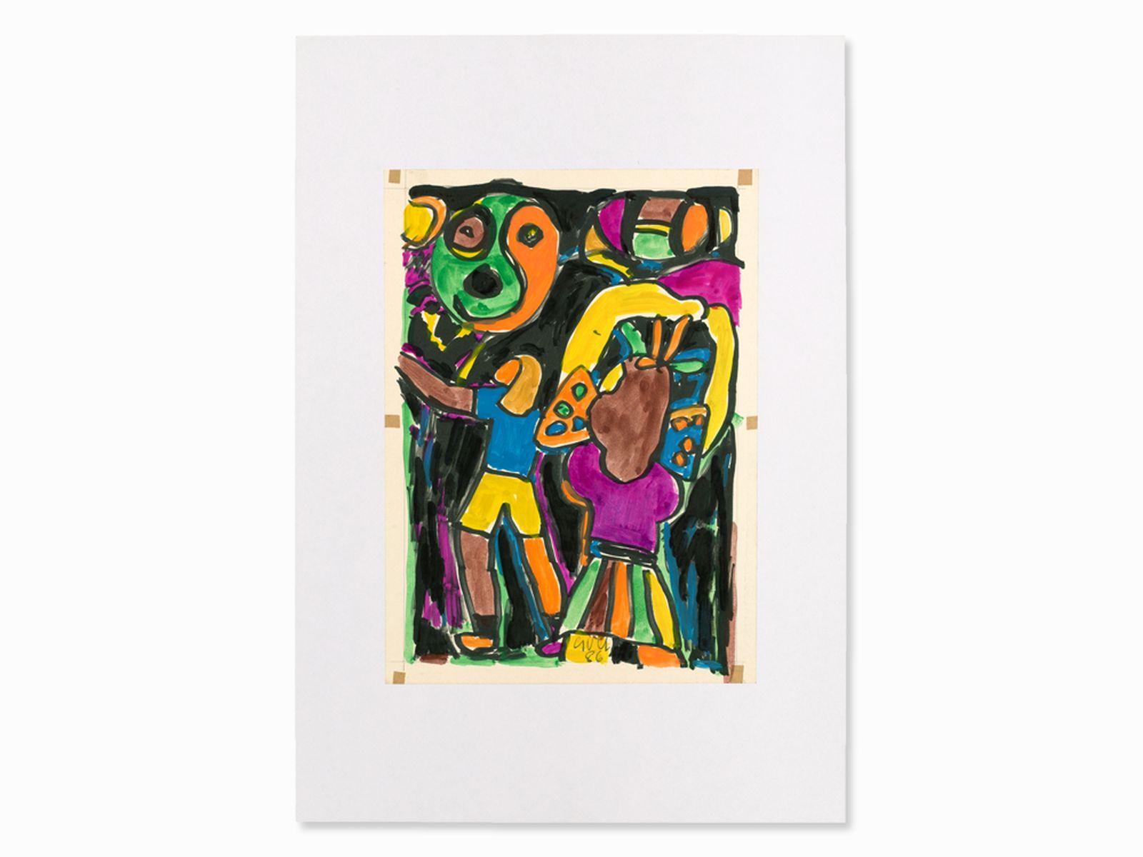 #23 Miklos Németh, Mixed Media, Colorful Composition, Hungary, ´86   Miklos Németh, Mischtechnik, Lebhafte Komposition, Ungarn,´86 Image
