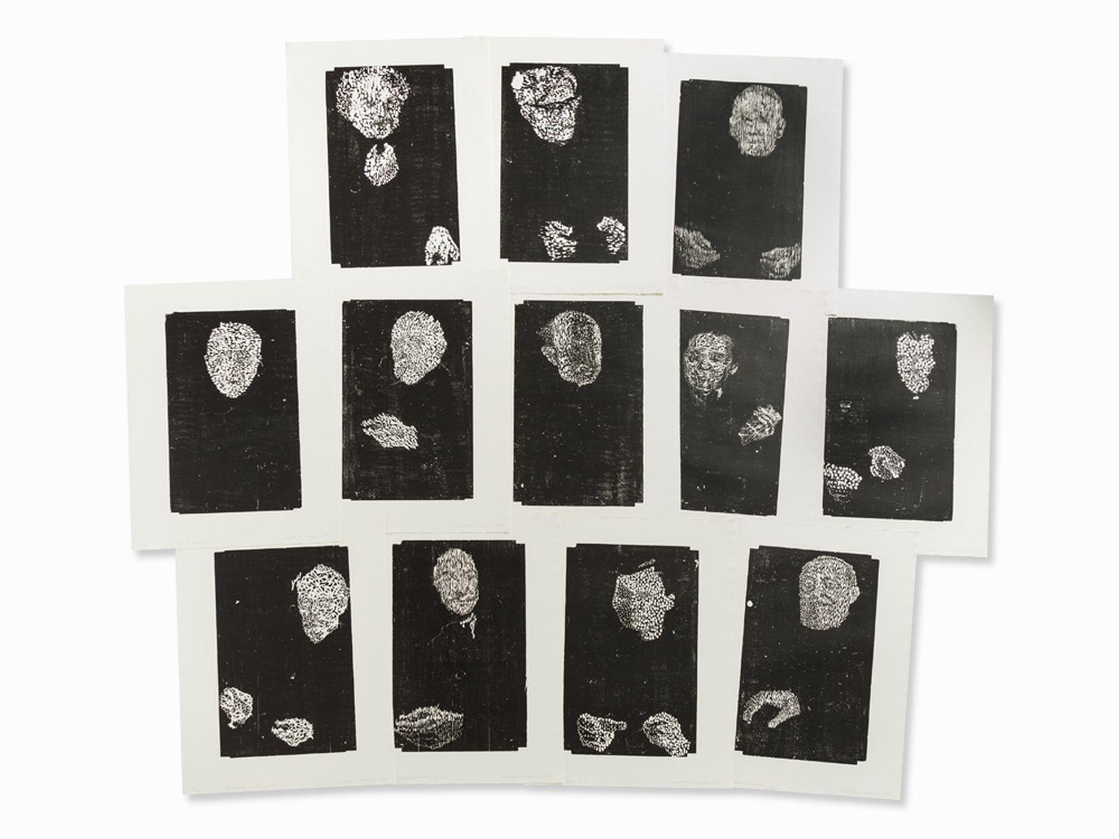 "#55 Matthias Mansen, Symposion (Köpfe), 12 Woodcuts, 1999 | Matthias Mansen (geb. 1958) , Symposion (""Hahnemühle Alt Worms"" ), 12 Holzschnitte, 1999 Image"