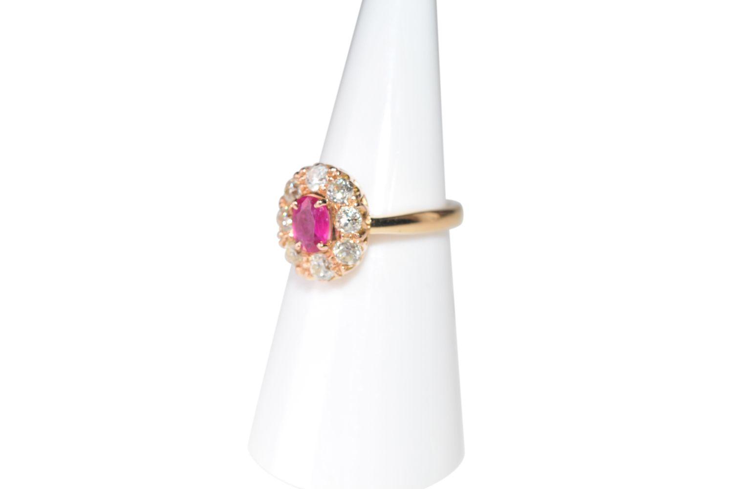 #127 Brilliant ring with ruby untreated | Brillantring mit Rubin unbehandelt Image