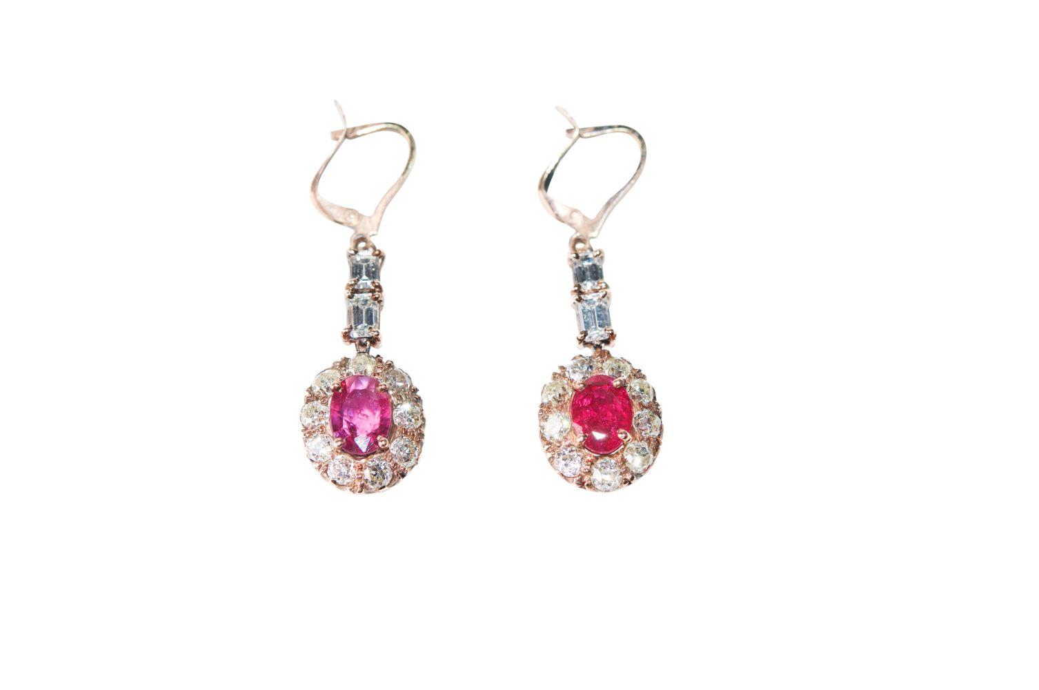 #129 Diamond ruby earrings | Diamant-Rubin-Ohrbrisuren Image