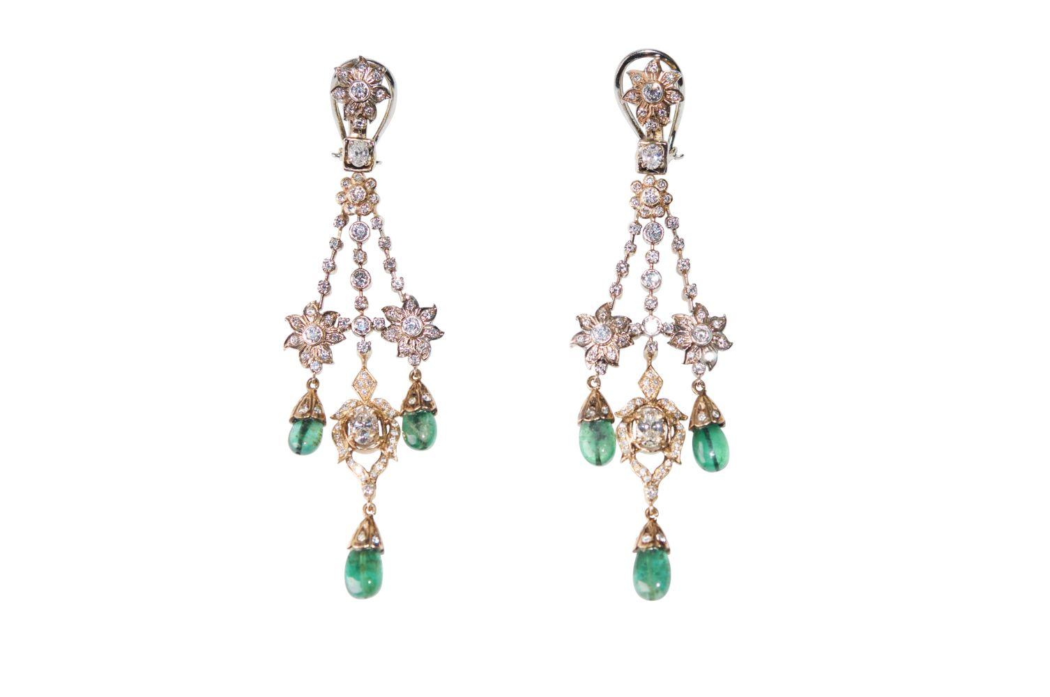 #131 Brilliant emerald ear clips   Brillant-Smaragd-Ohrclipse Image