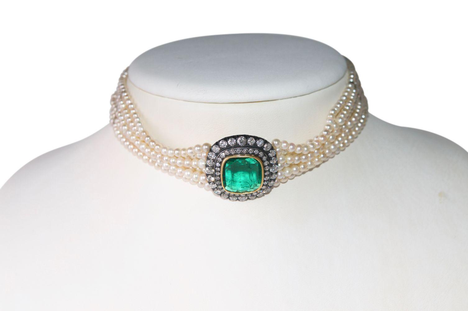 #132 Brilliant emerald pearl necklace | Brillant-Smaragd-Perlen Collier Image