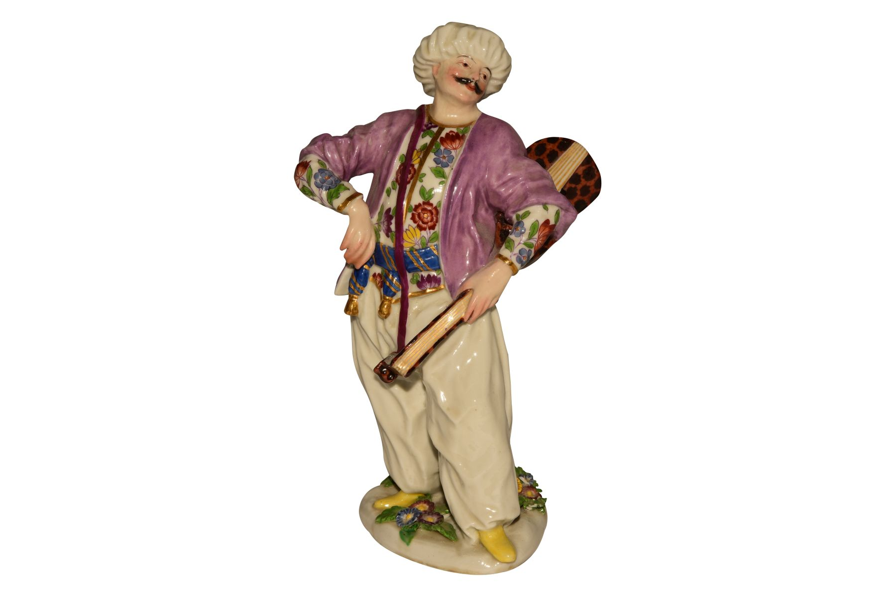 "#126 Small figure ""Turk with lute"" Meissen probably 18th century 