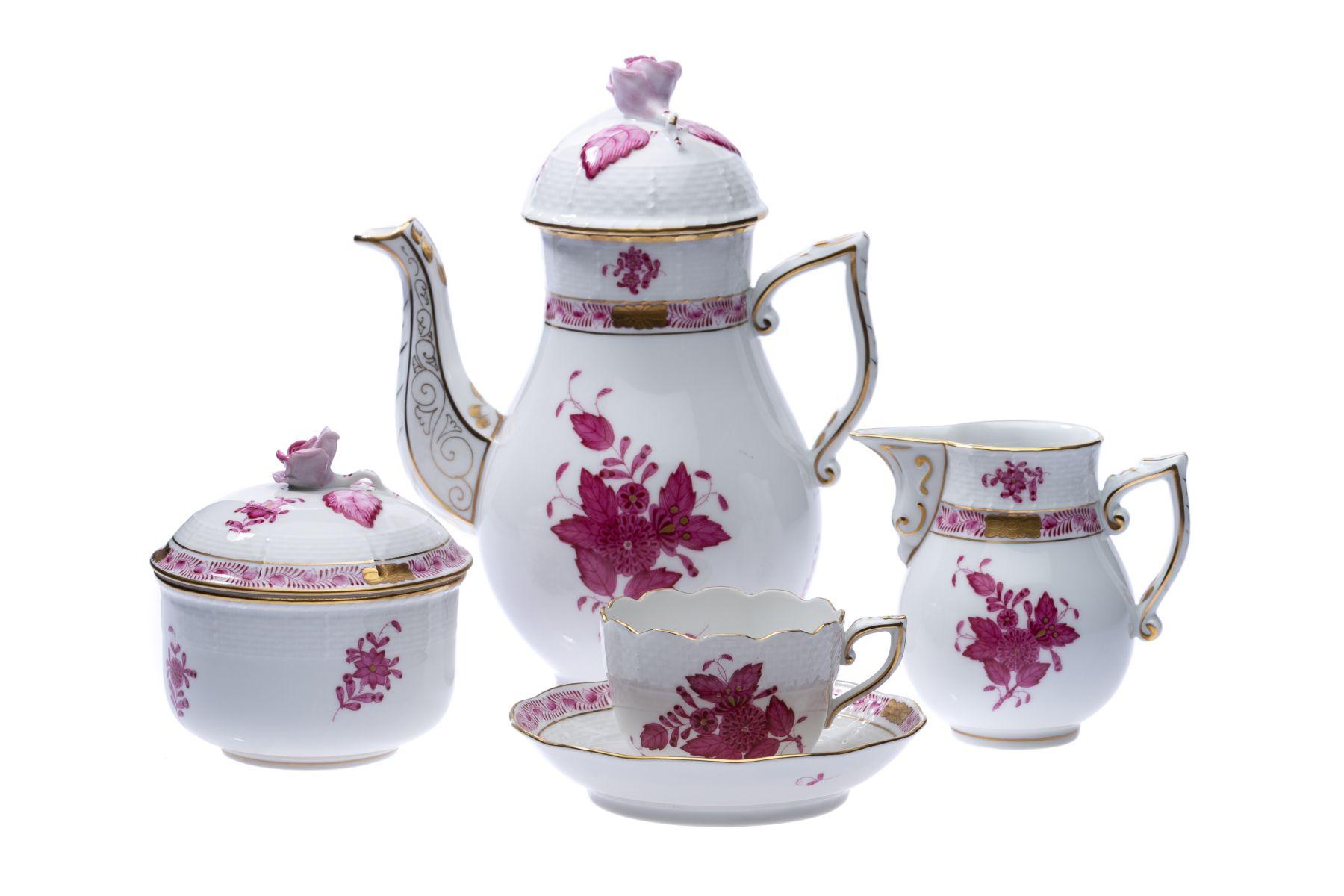 "#154 Herend Moccaservice 15 pieces form Osier decor ""Apponyi purpur"" | Herend Moccaservice 15 teilig  Form Osier Dekor ""Apponyi purpur"" Image"