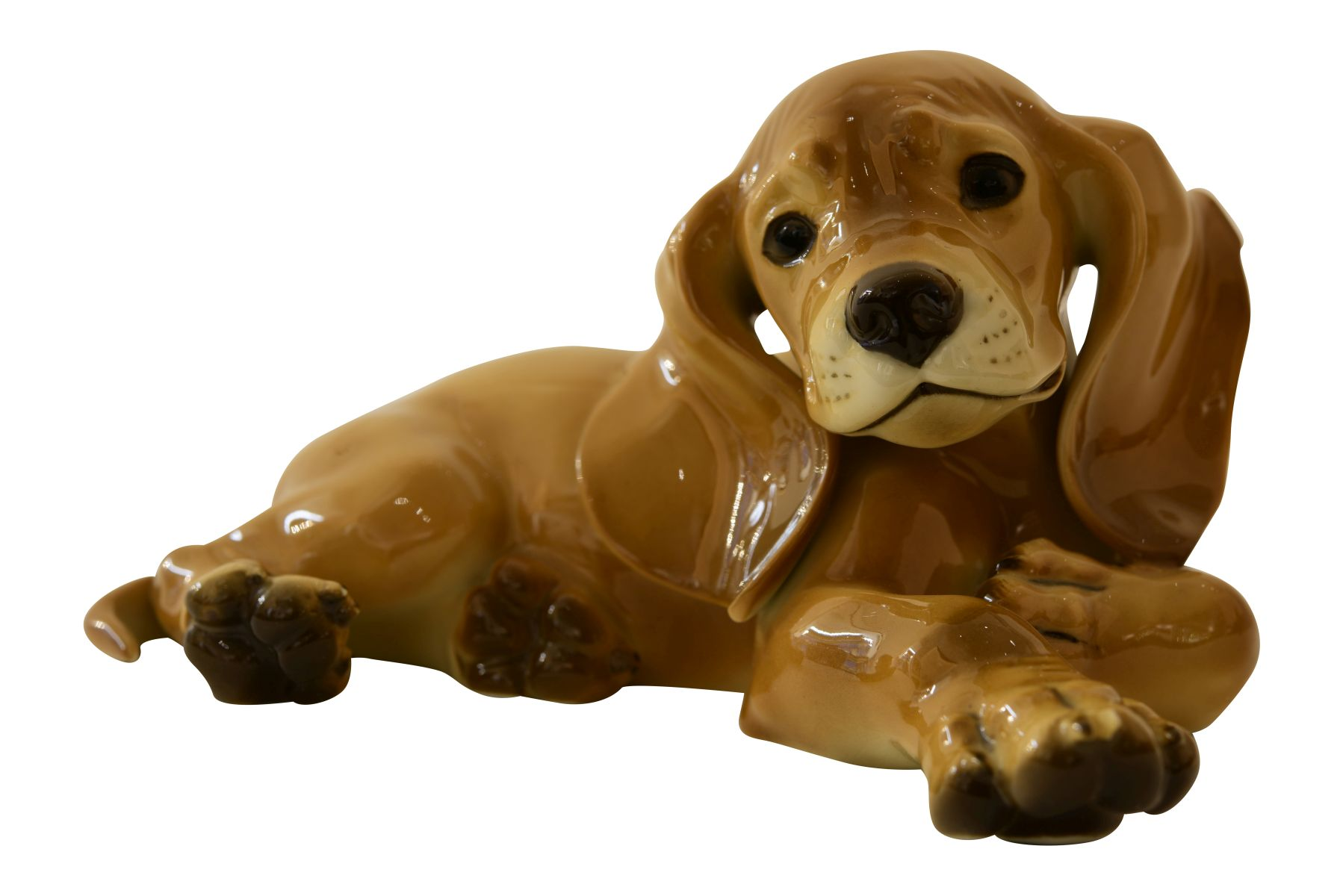 #190 Young Dachshund lying Allach Munich porcelain manufacturer | Image