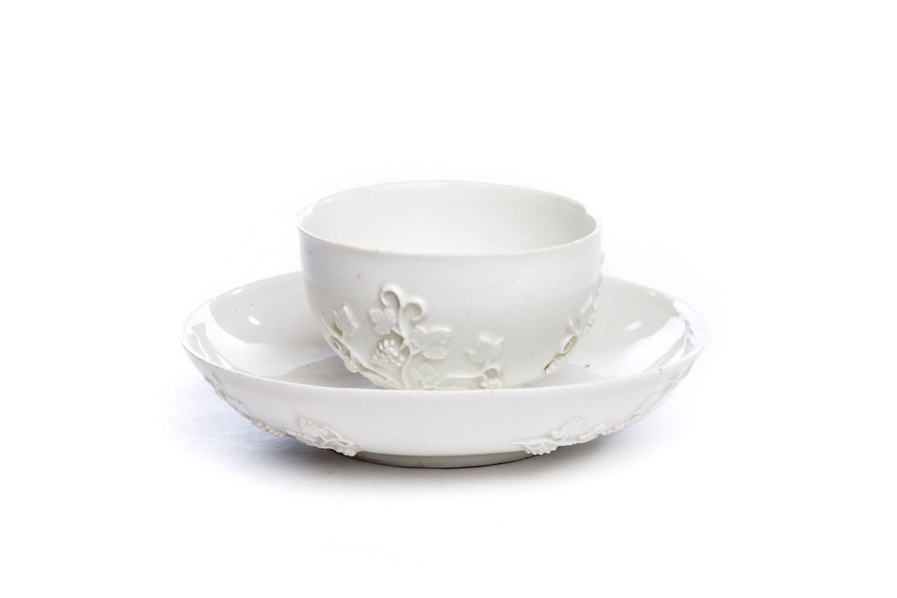 #48 Bowl with saucer, white Böttger porcelain, Meissen 1720 | Koppchen mit Unterschale, weißes Böttgerporzellan, Meissen 1720 Image