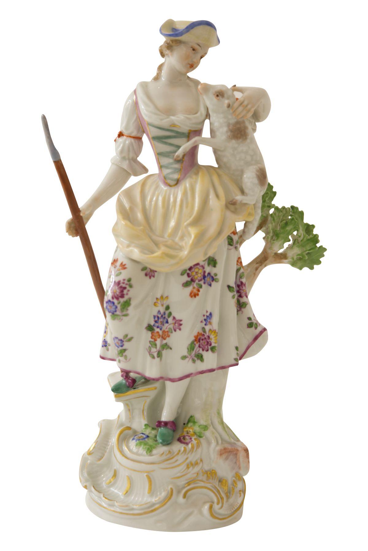 "#84 Large figure ""shepherdess"" Meissen | Große Figur ""Schäferin"" Meisen Image"