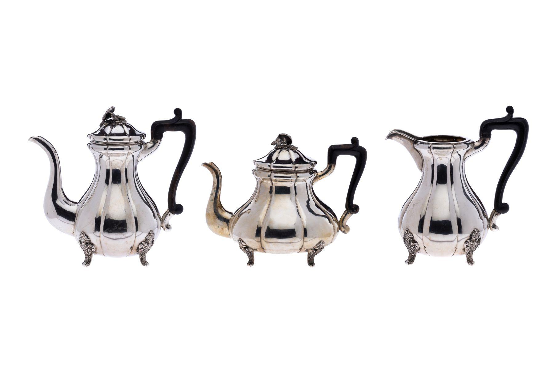 #2 Teapot, coffee pot and milk jug with black wooden handle | Teekanne, Kaffeekanne und Milchkanne mit schwarzem Holzgriff Image