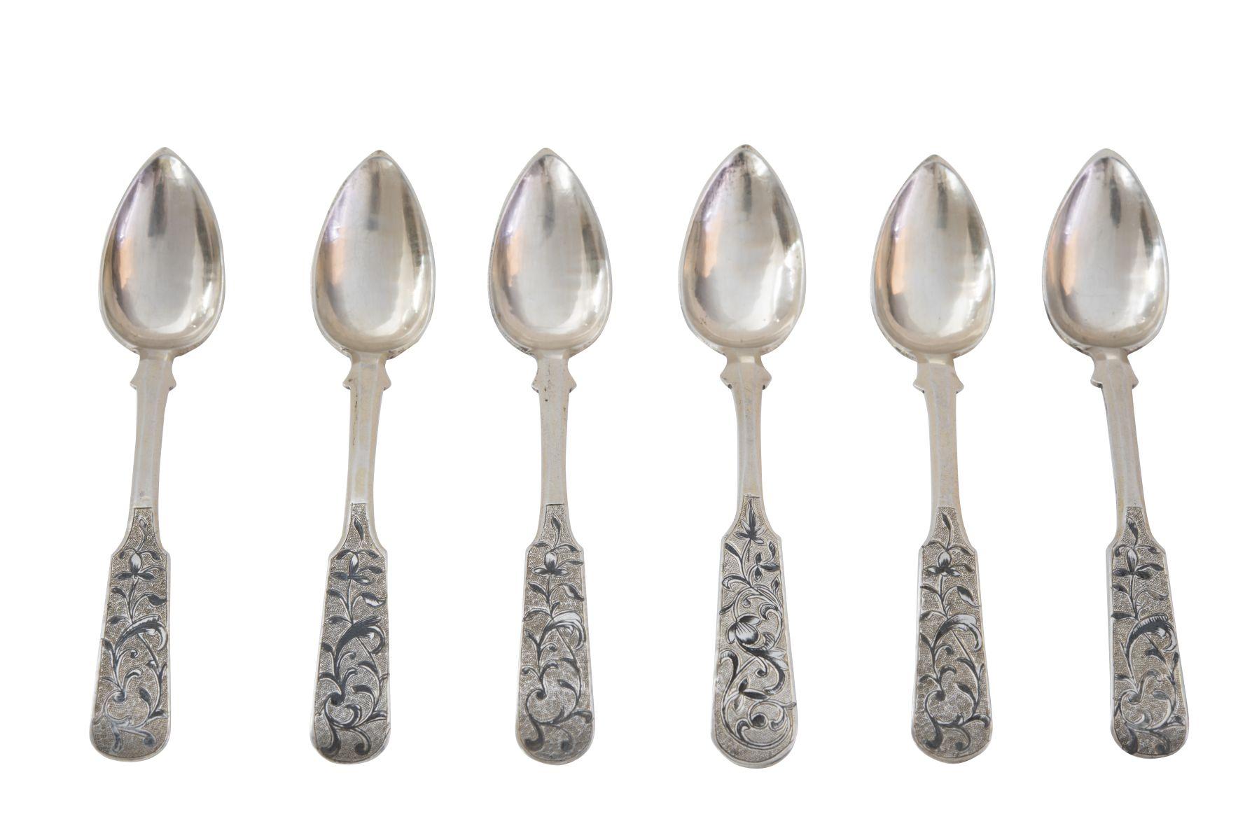#95 6 Russian dessert spoons | 6 Russische Dessertlöffel Image