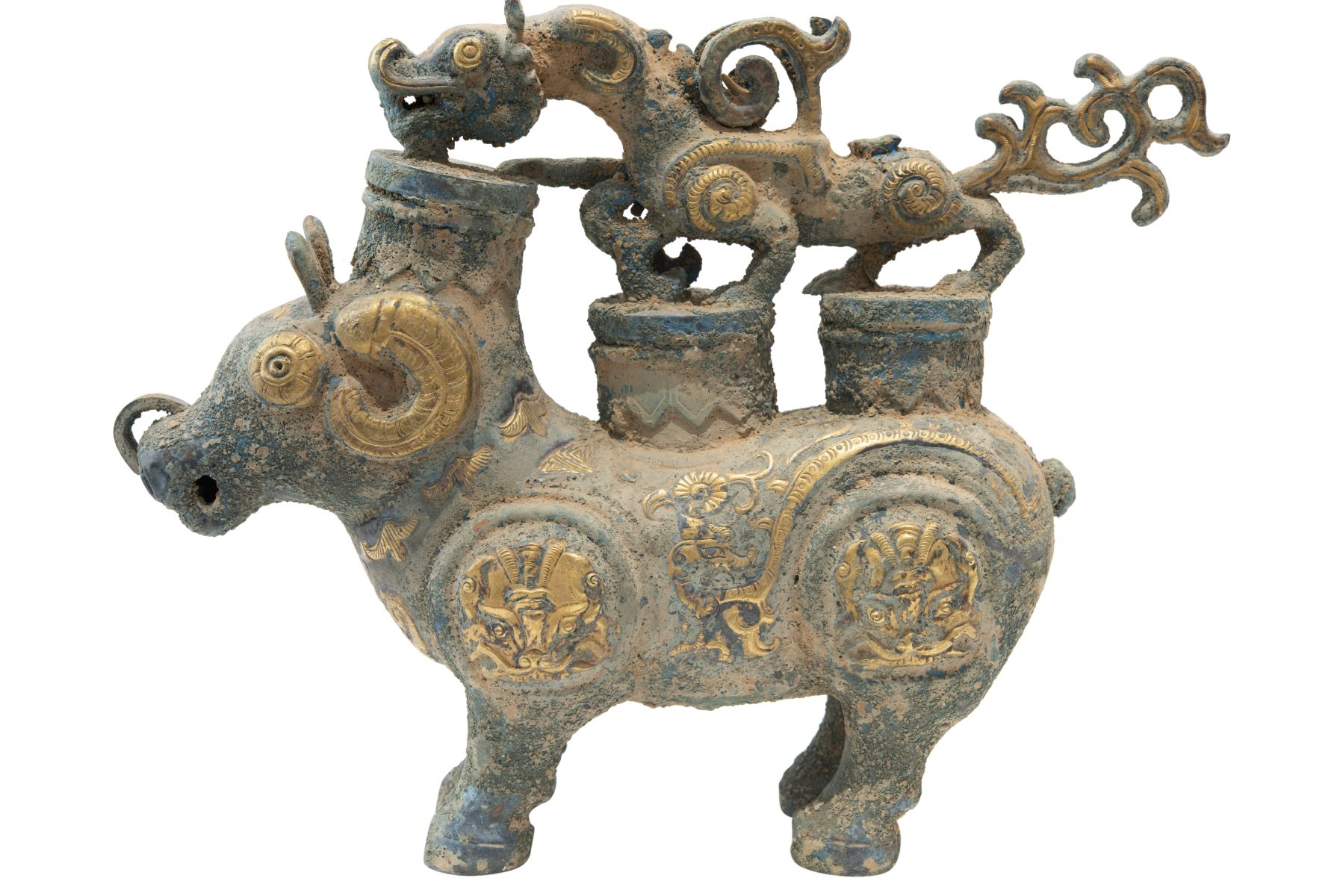 #140 Fire-gilded copper repoussé vessel in the style of the Tang Dynasty, probably late Qing Dynasty | Feuervergoldetes Kupfer Repoussé Gefäß im Stil der Tang Dynastie, vermutlich späte Qing Dynastie Image