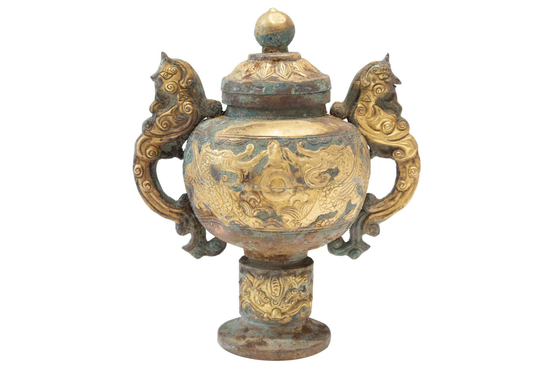 #142 Fire-gilt copper repoussé China, style of the Tang dynasty-presumably dating to the late Qing dynasty | Feuervergoldetes Kupfer Repoussé Gefäß im Stil der Tang Dynastie, vermutlich späte Qing Dynastie Image