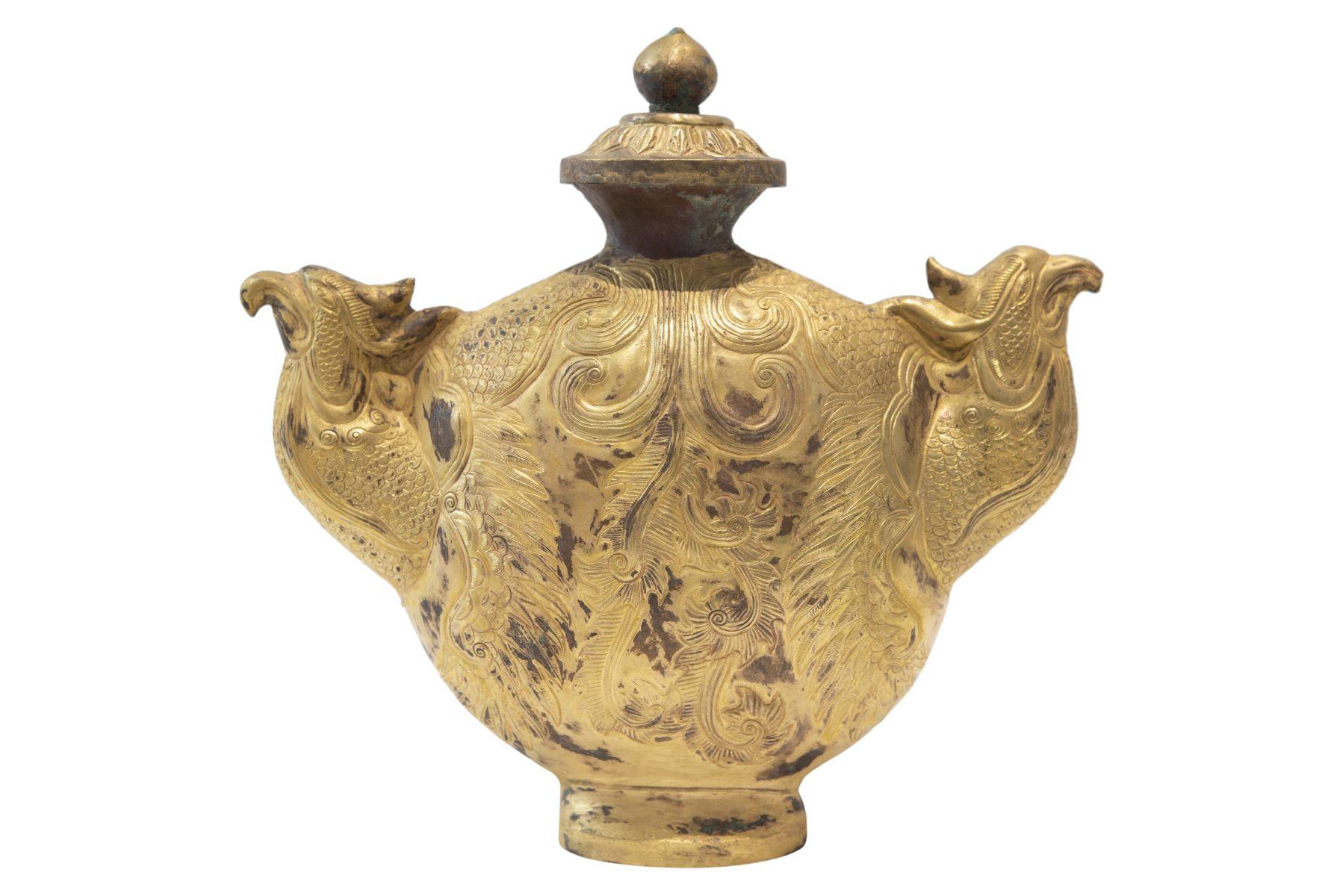 #145 Fire-gilded copper repoussé vessel | Feuervergoldetes Kupfer Repoussé Gefäß Image