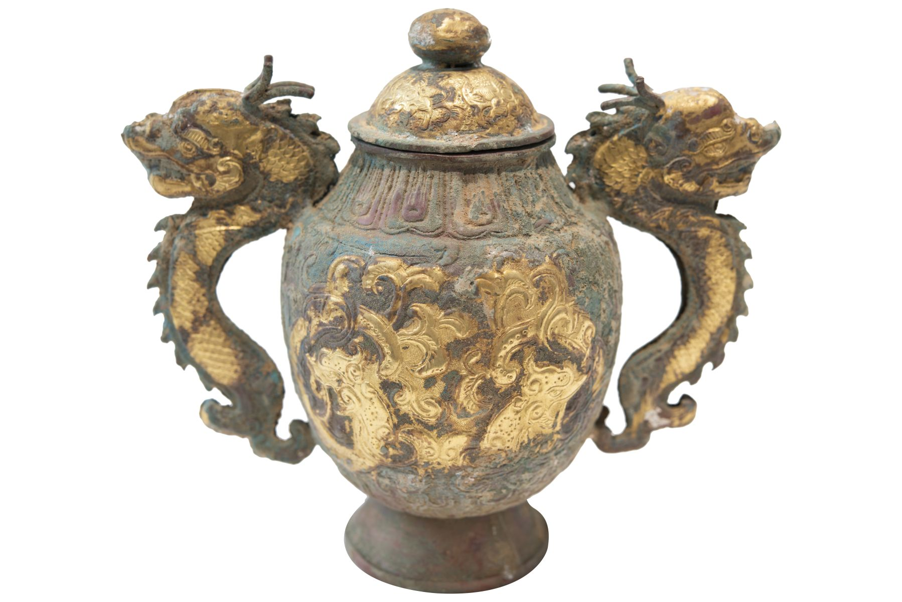 #151 Fire-gilded copper repoussé vessel in the style of the Tang Dynasty, probably late Qing Dynasty | Feuervergoldetes Kupfer Repoussé Gefäß im Stil der Tang Dynastie, vermutlich späte Qing Dynastie Image