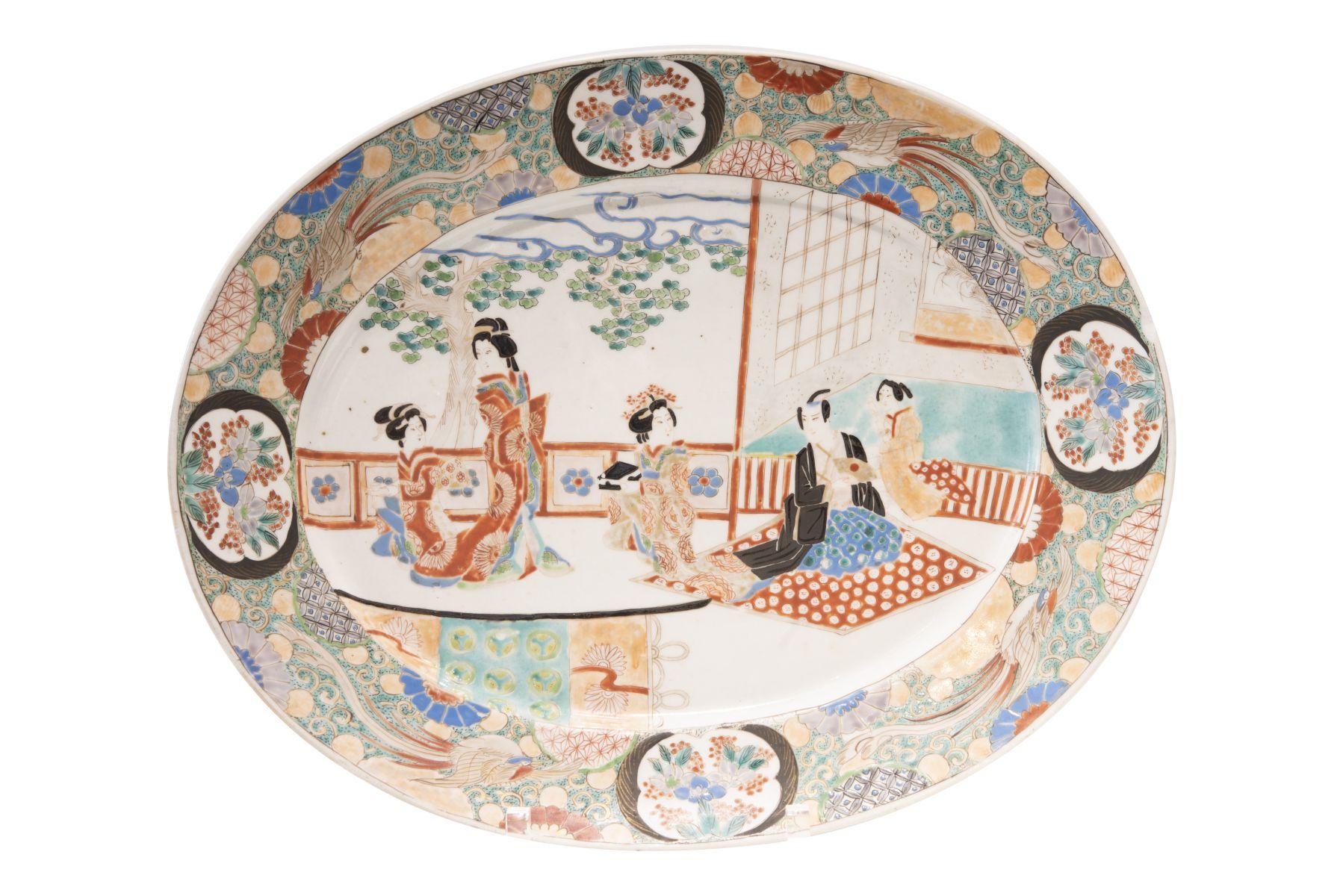 #39 Large oval Japanese porcelain plate. | Japanischer Porzellan Teller Image