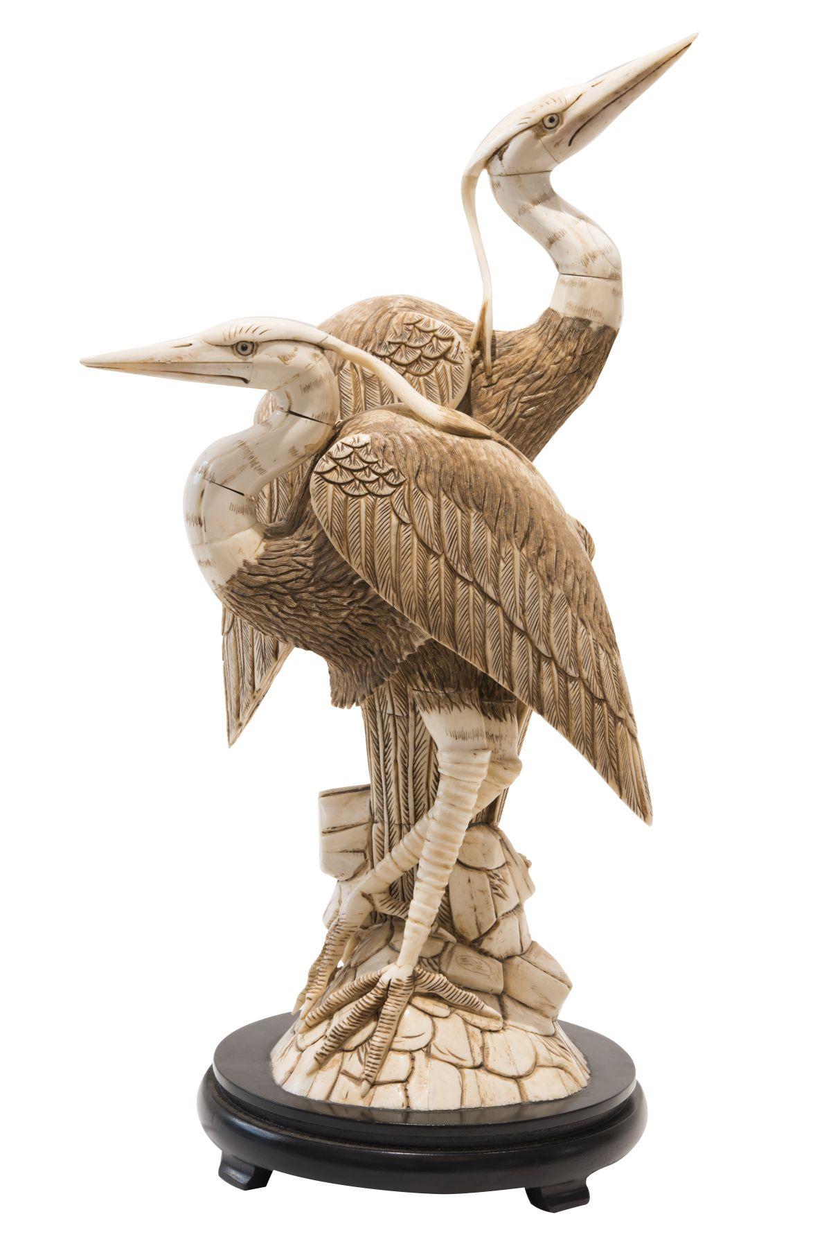 #80 Pair of ivory herons | Paar Fischreiher Elfenbein Image
