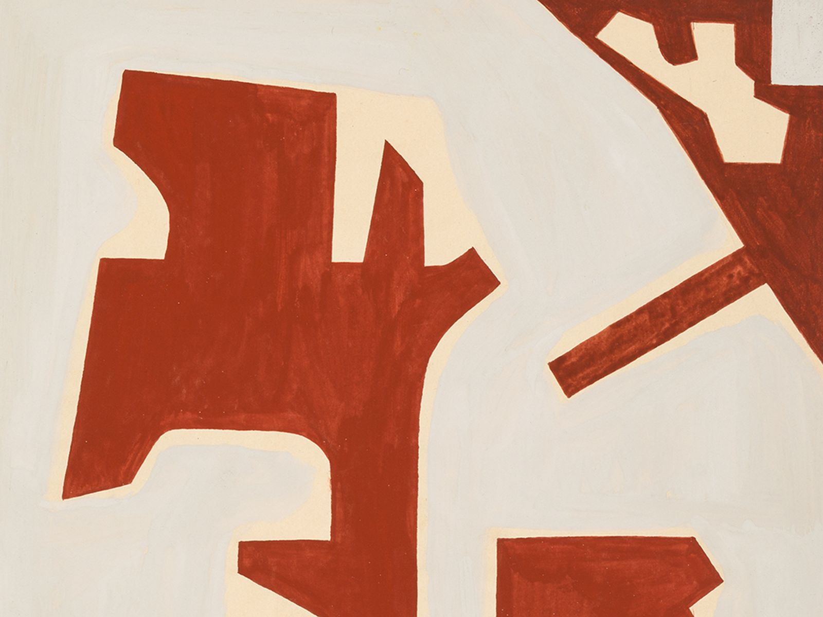 "#115 Rudolf Petrik ""Composition in Red and Gray"" 1957 