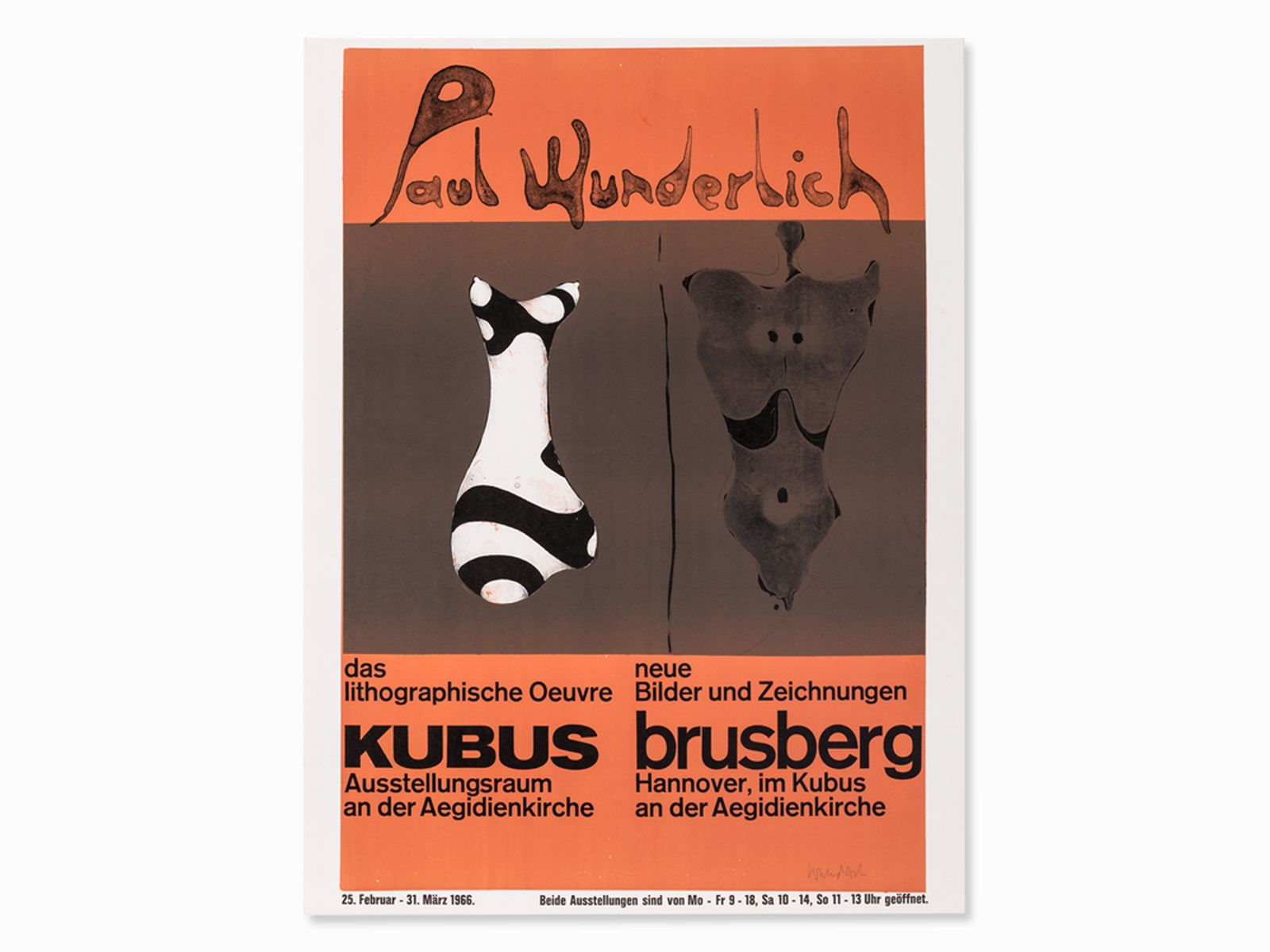 "#124 Paul Wunderlich ""Poster Brusberg"" 1965 | Paul Wunderlich (*1927-2010) ""Plakat Brusberg"" 1965 Image"