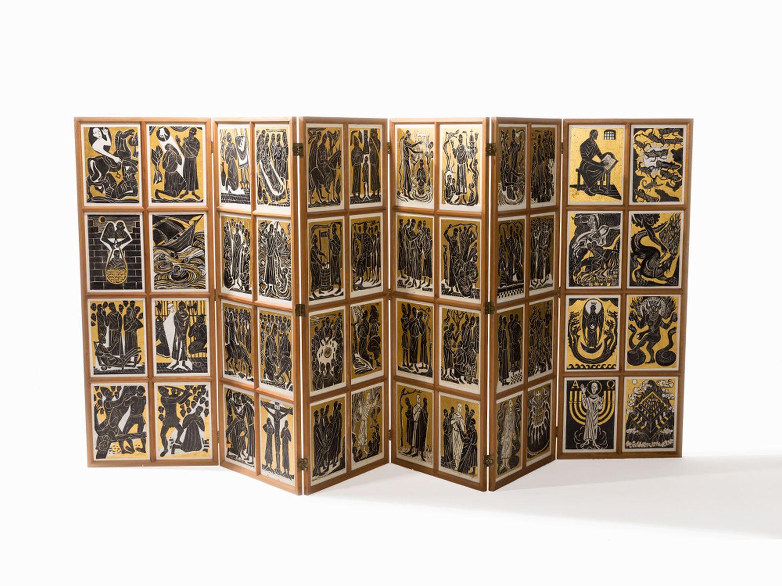 "#128 Egon Stolterfoh t""Altar with Biblical Scenes"" c. 1970 | Egon Stolterfoht (*1912-1986) ""Altar mit Szene aus dem Leben Christi"" ca. 1970 Image"