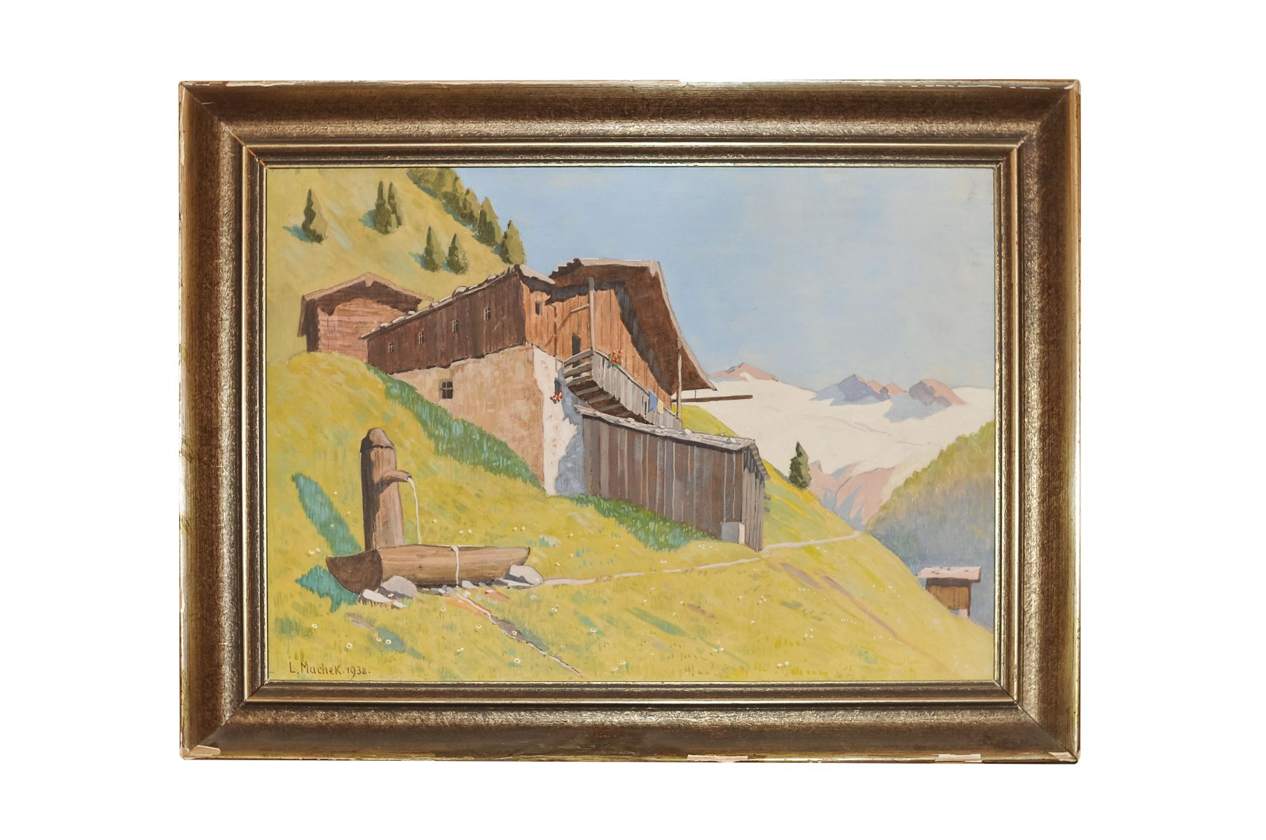 "#3 L. Machek 1938 """" Farm in the mountains "" 