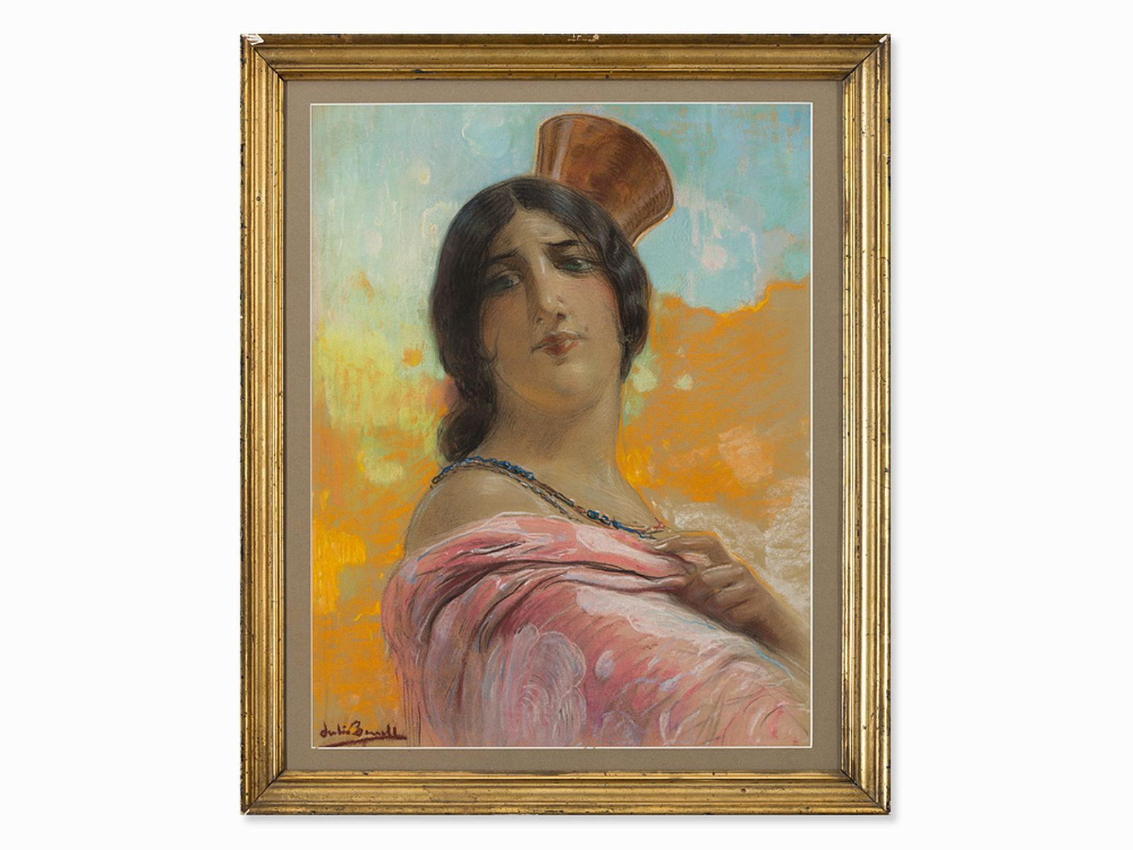 #66 Julio Borrell Pla (1877-1957), Young Spanish woman, pastel, 20th century. | Julio Borrell Pla (1877-1957), Junge Spanierin, Pastell, 20.Jh. Image