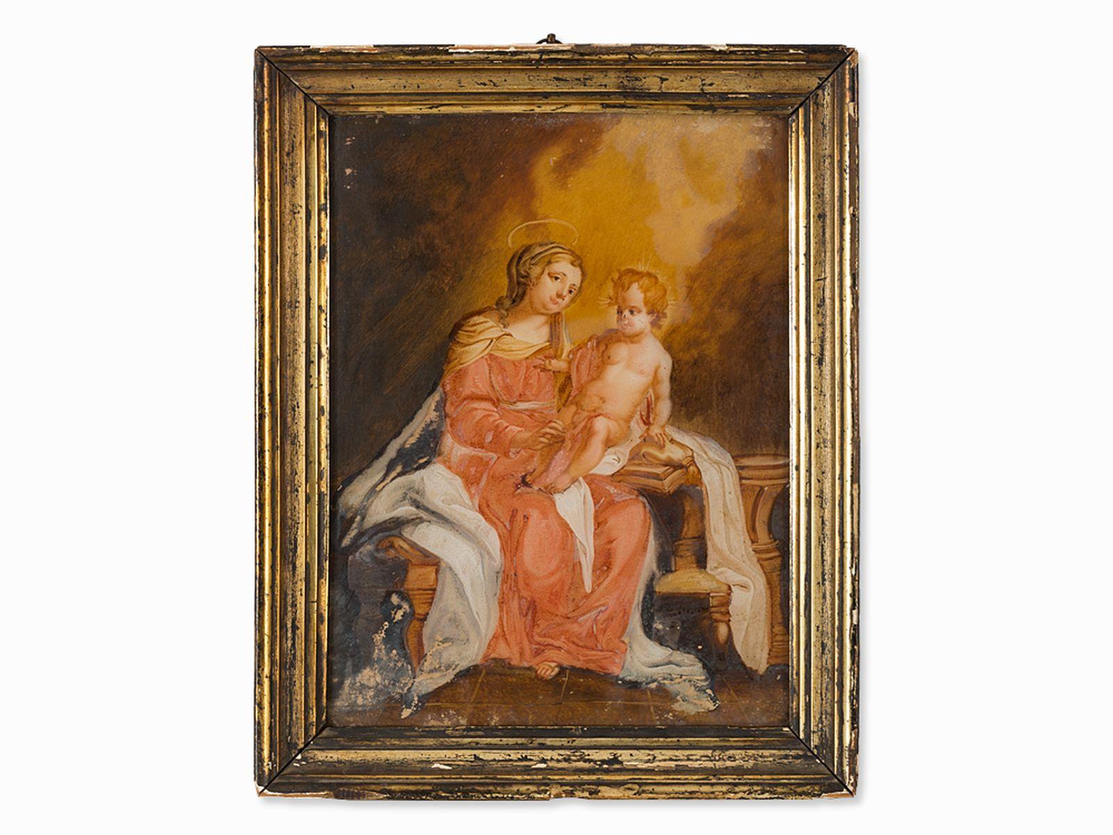 "#67 ""Madonna with child"" reverse glass painting, Spanish school, 18th century | ""Madonna mit Kind"" Hinterglasmalerei, Spanische Schule, 18. Jh. Image"