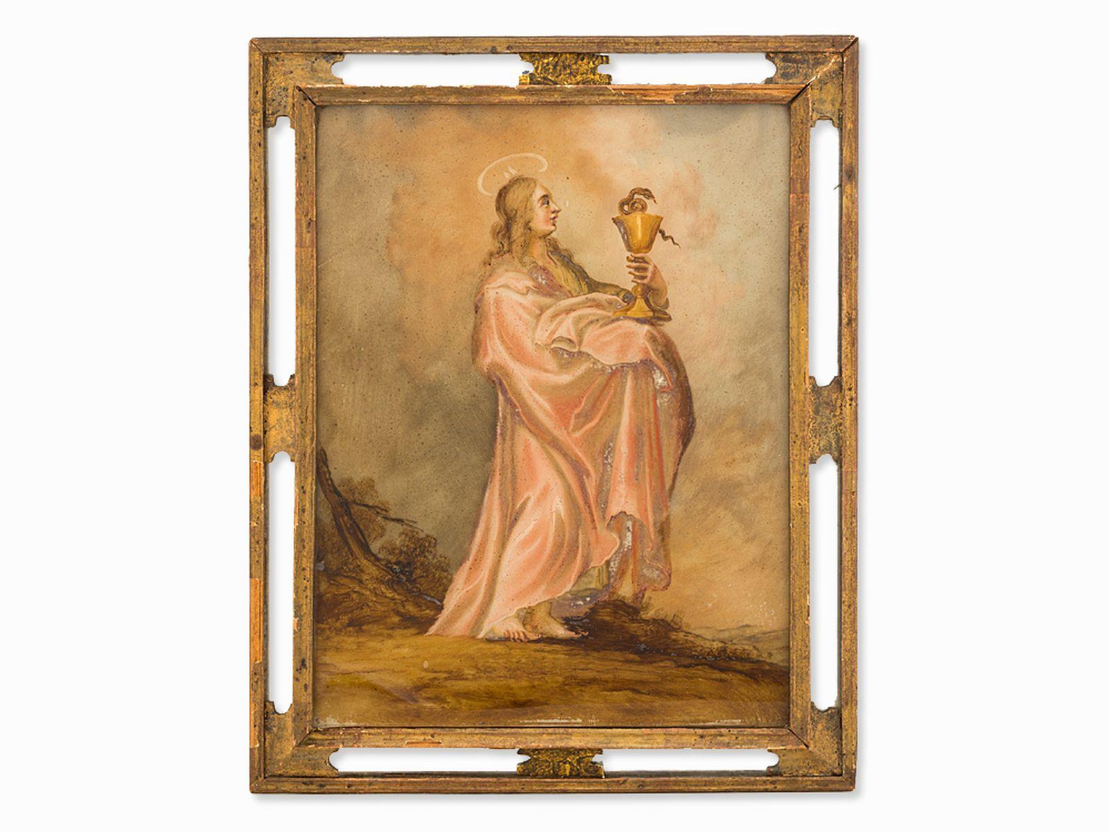 "#71 The Evangelist John reverse glass painting, Italy, 18th century | ""Der Evangelist Johannes"" Hinterglasmalerei, Italien, 18. Jh. Image"