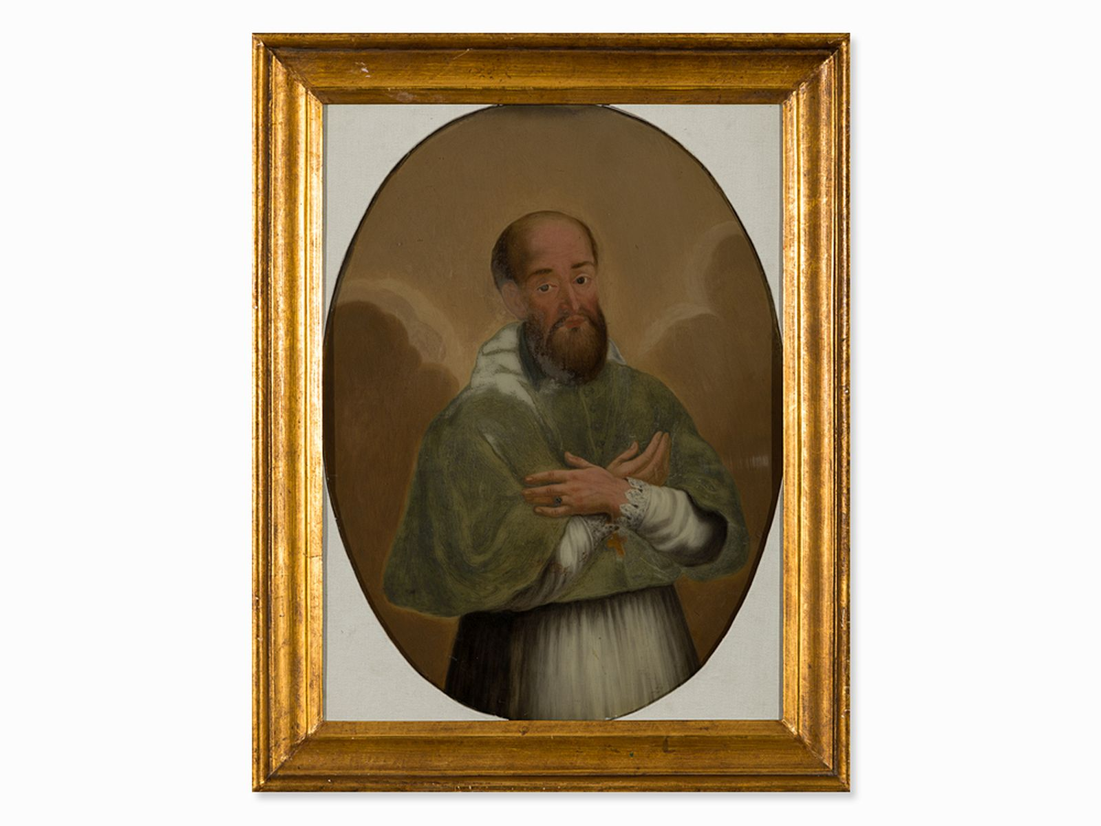 "#74 ""Portrait of a church father"" reverse glass painting, Spain,18th century 
